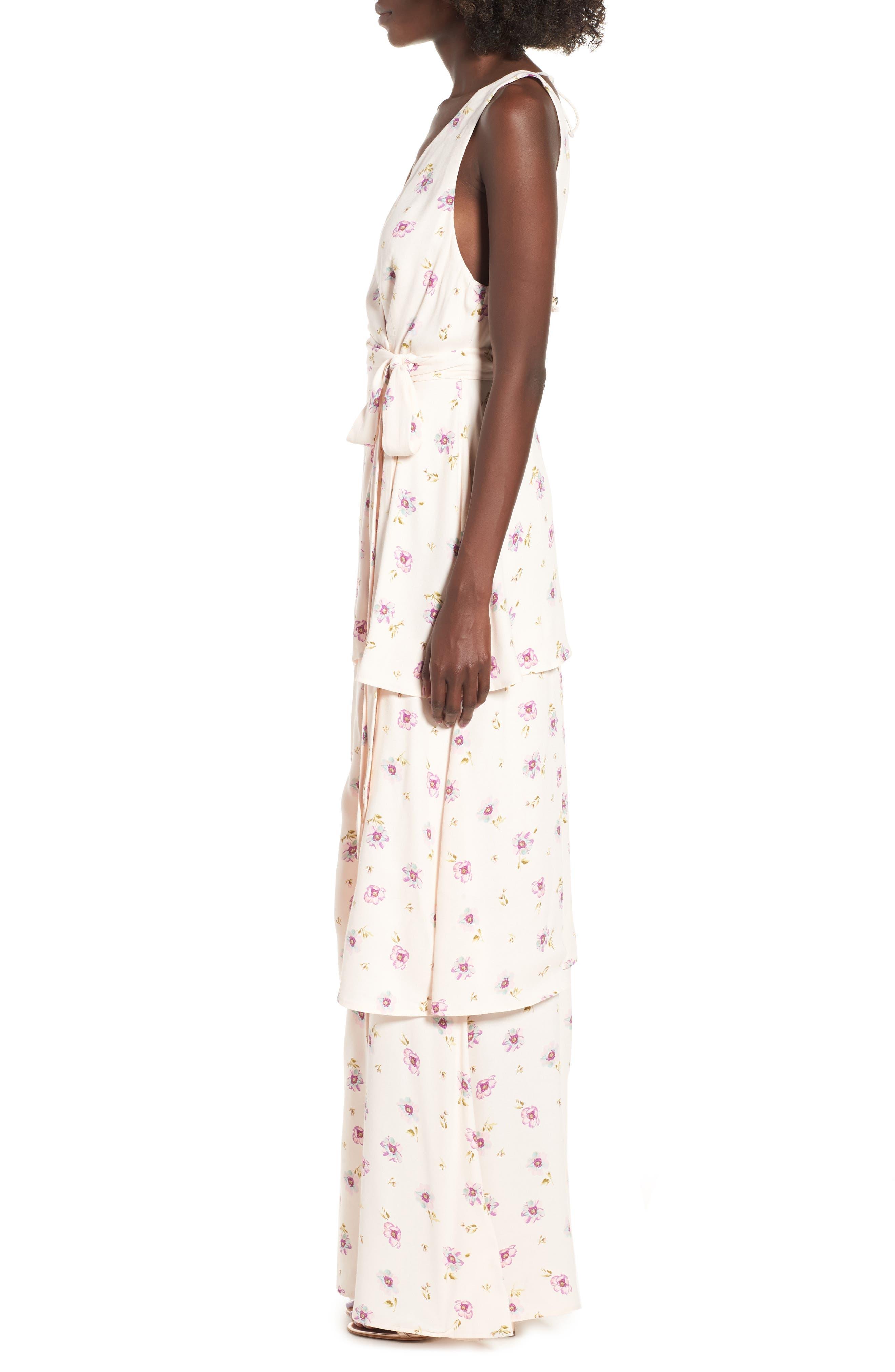 Rosa Wrap Maxi Dress,                             Alternate thumbnail 3, color,                             Lilac Floral