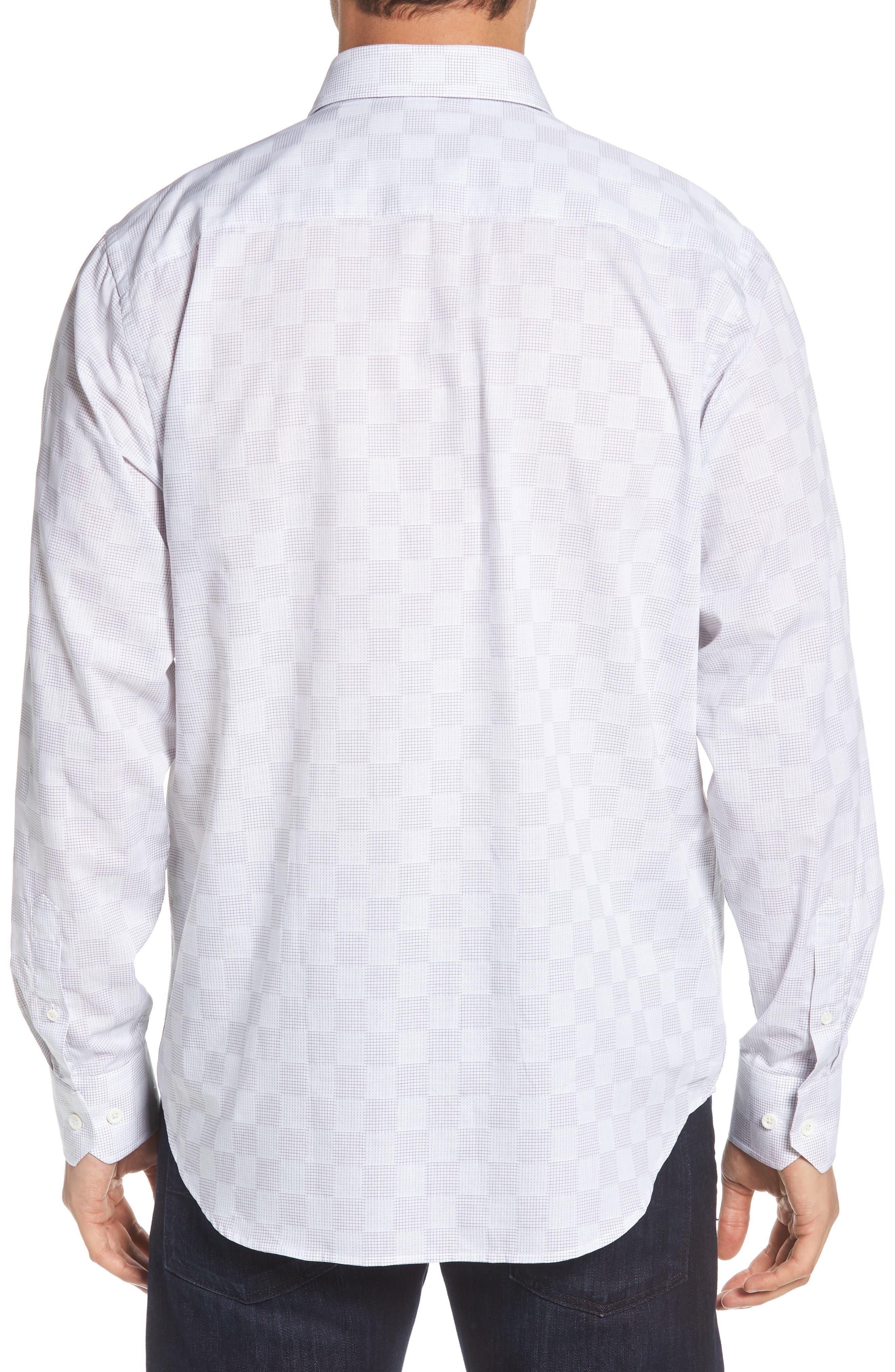 Classic Fit Checkerboard Print Sport Shirt,                             Alternate thumbnail 3, color,                             Platinum