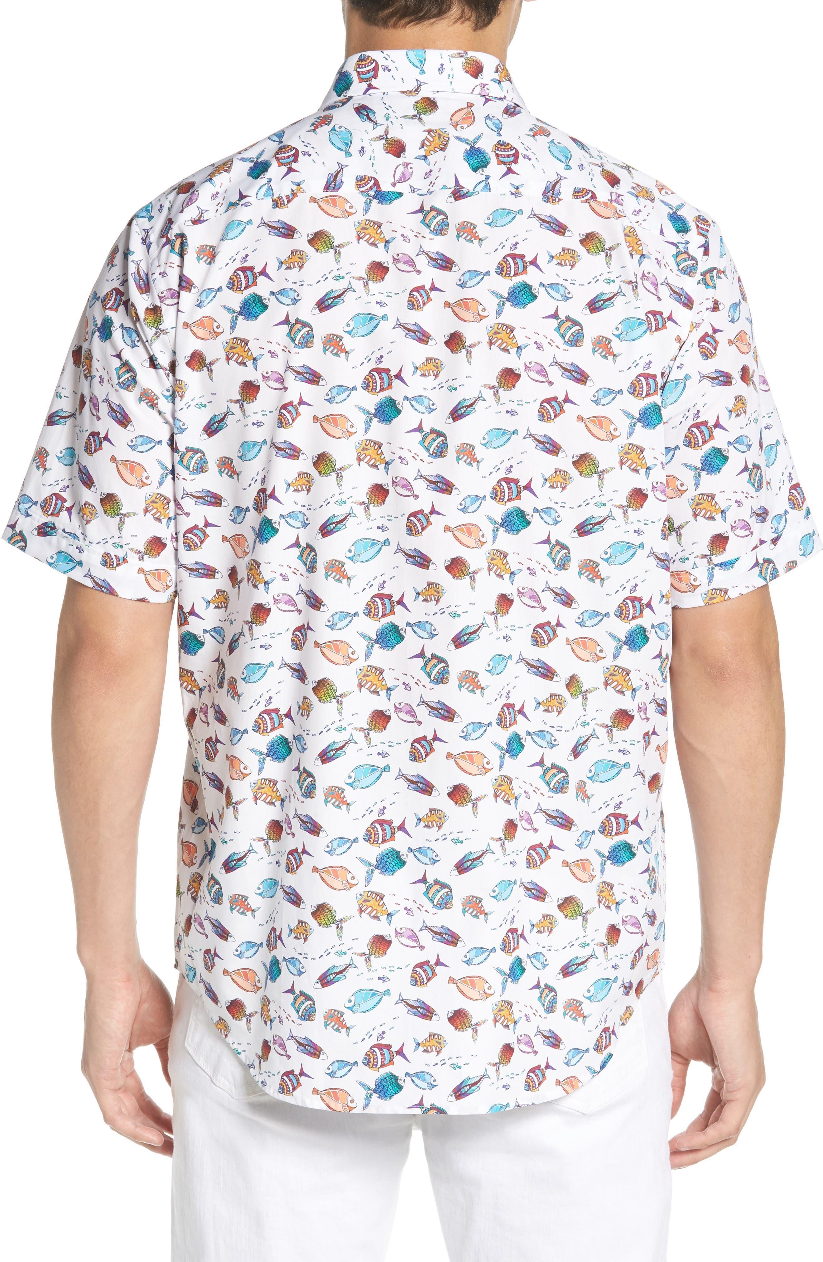 Classic Fit Fish Print Sport Shirt,                             Alternate thumbnail 3, color,                             Seafoam