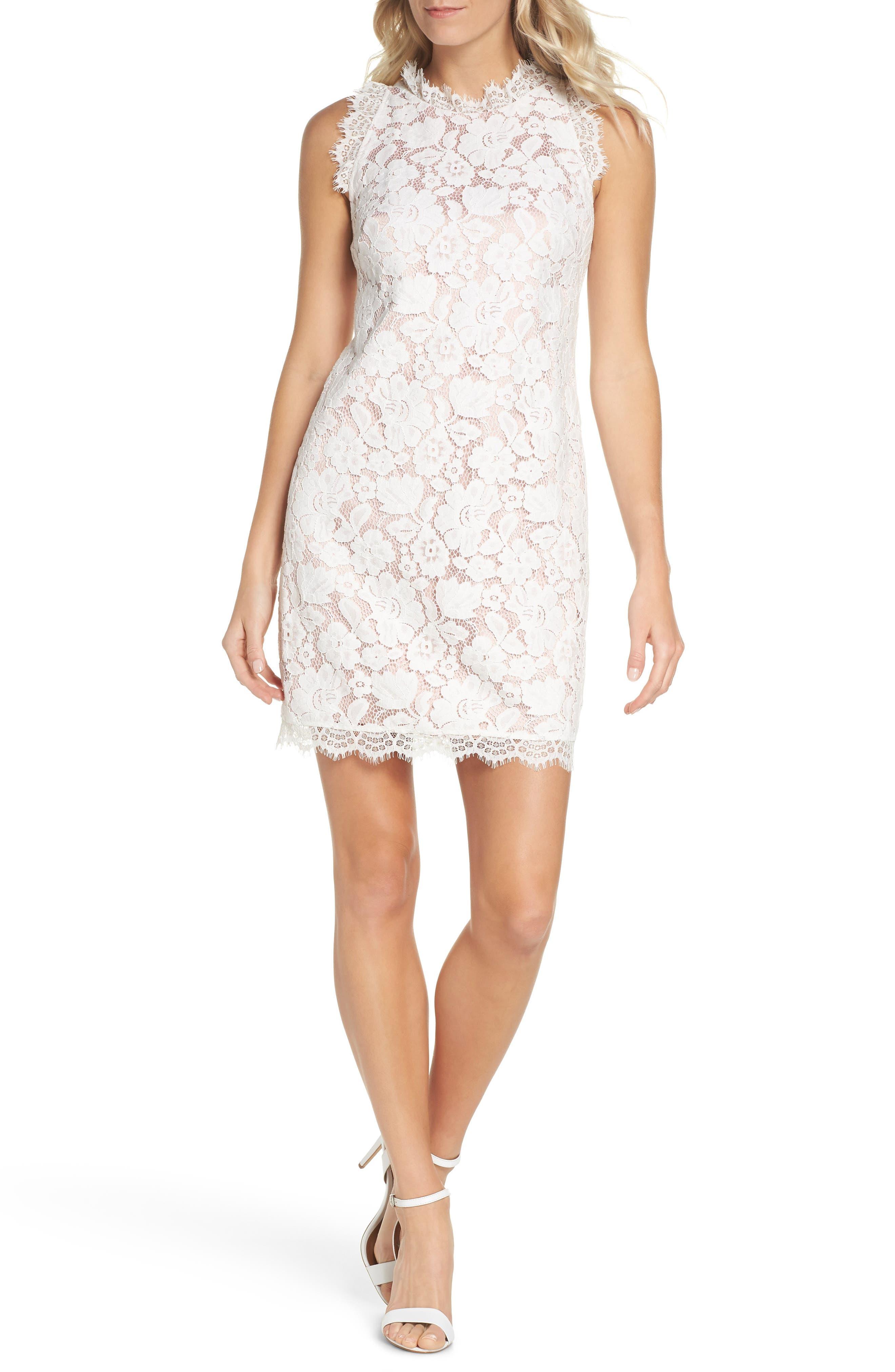 Sleeveless Eyelash Lace Sheath Dress,                         Main,                         color, Cream