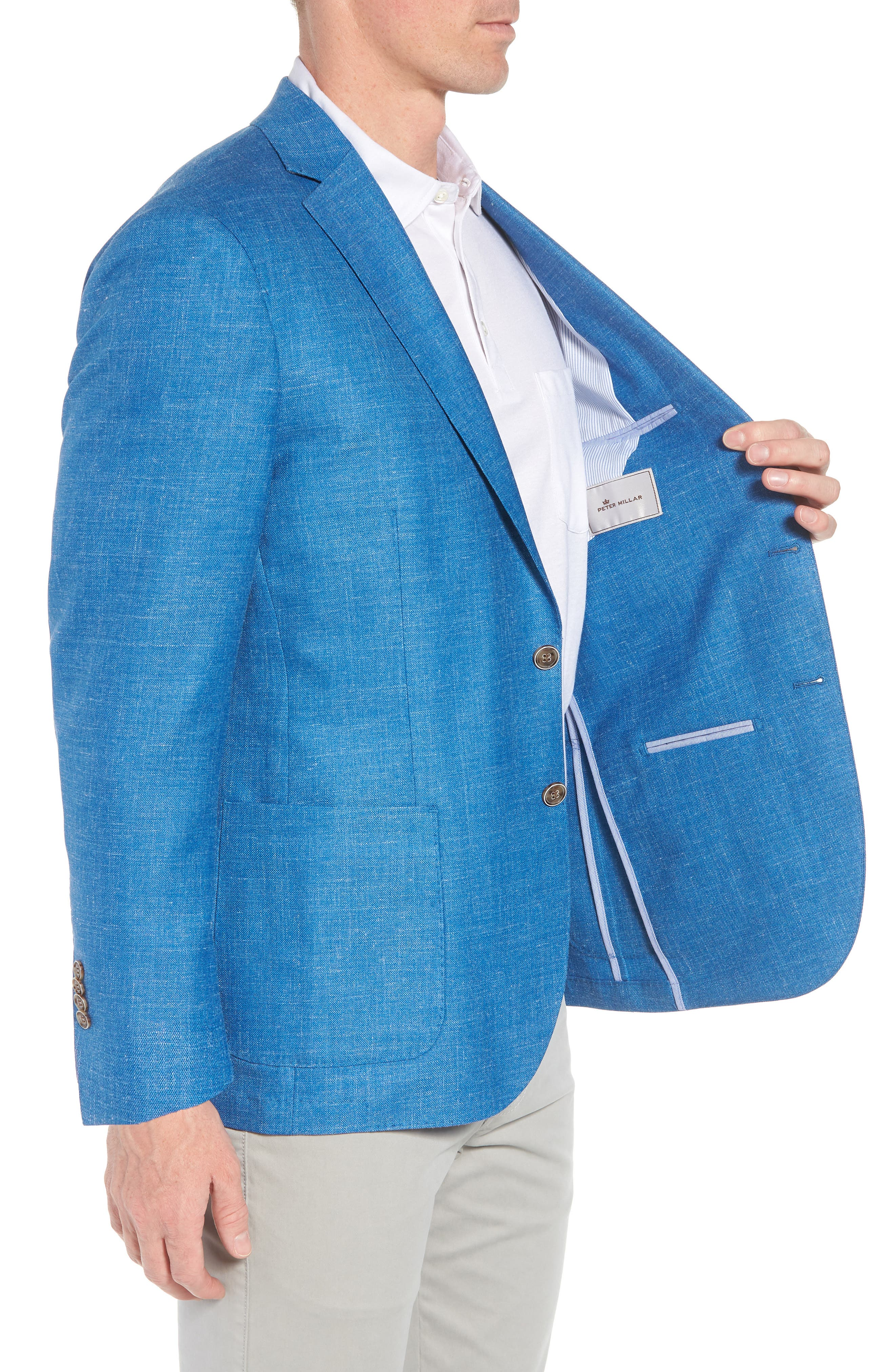 Crown Wool & Silk Blend Blazer,                             Alternate thumbnail 3, color,                             Blue Fish