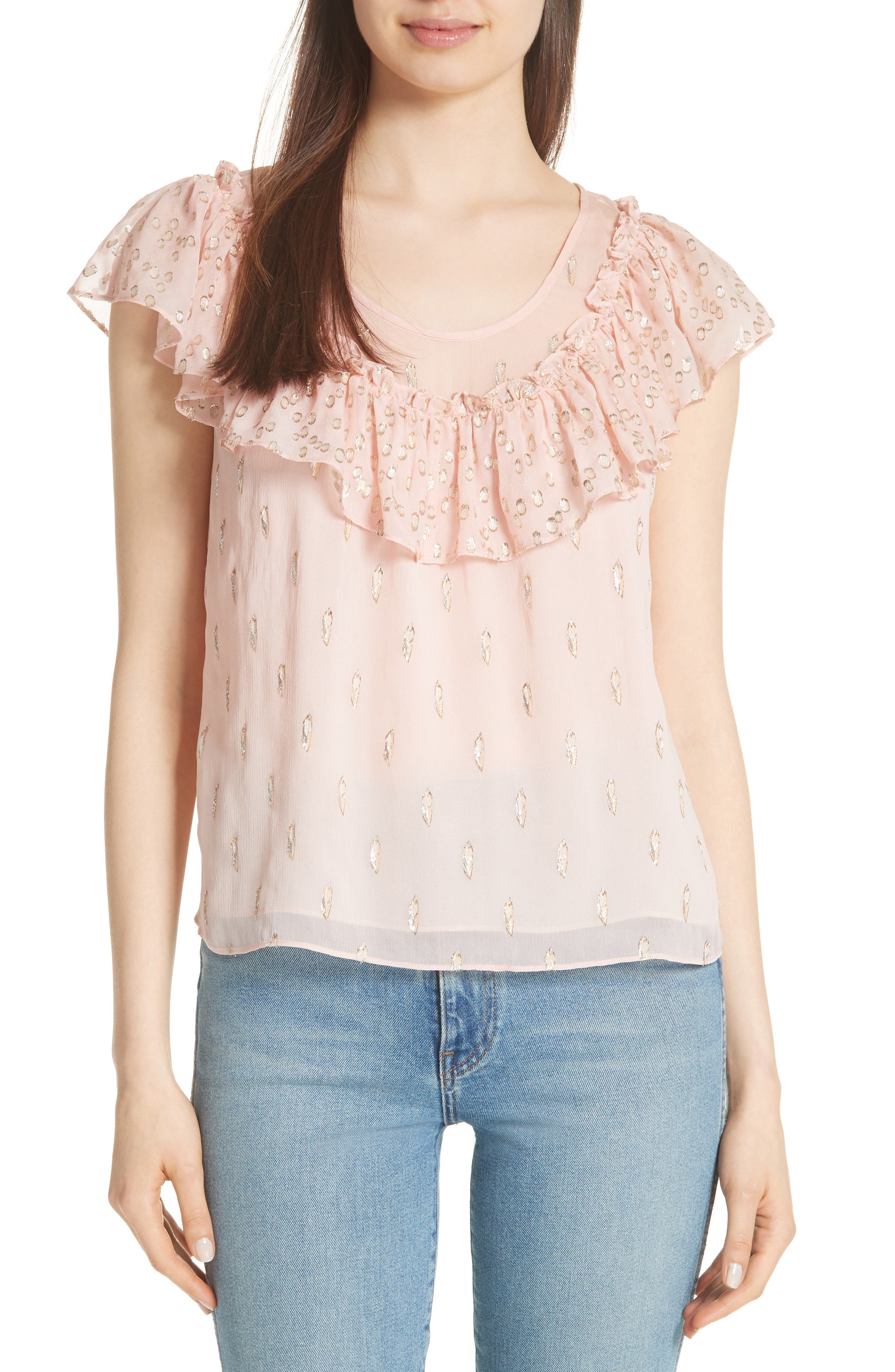 Metallic Fille Coupé Ruffle Silk Top,                             Main thumbnail 1, color,                             Powder Pink