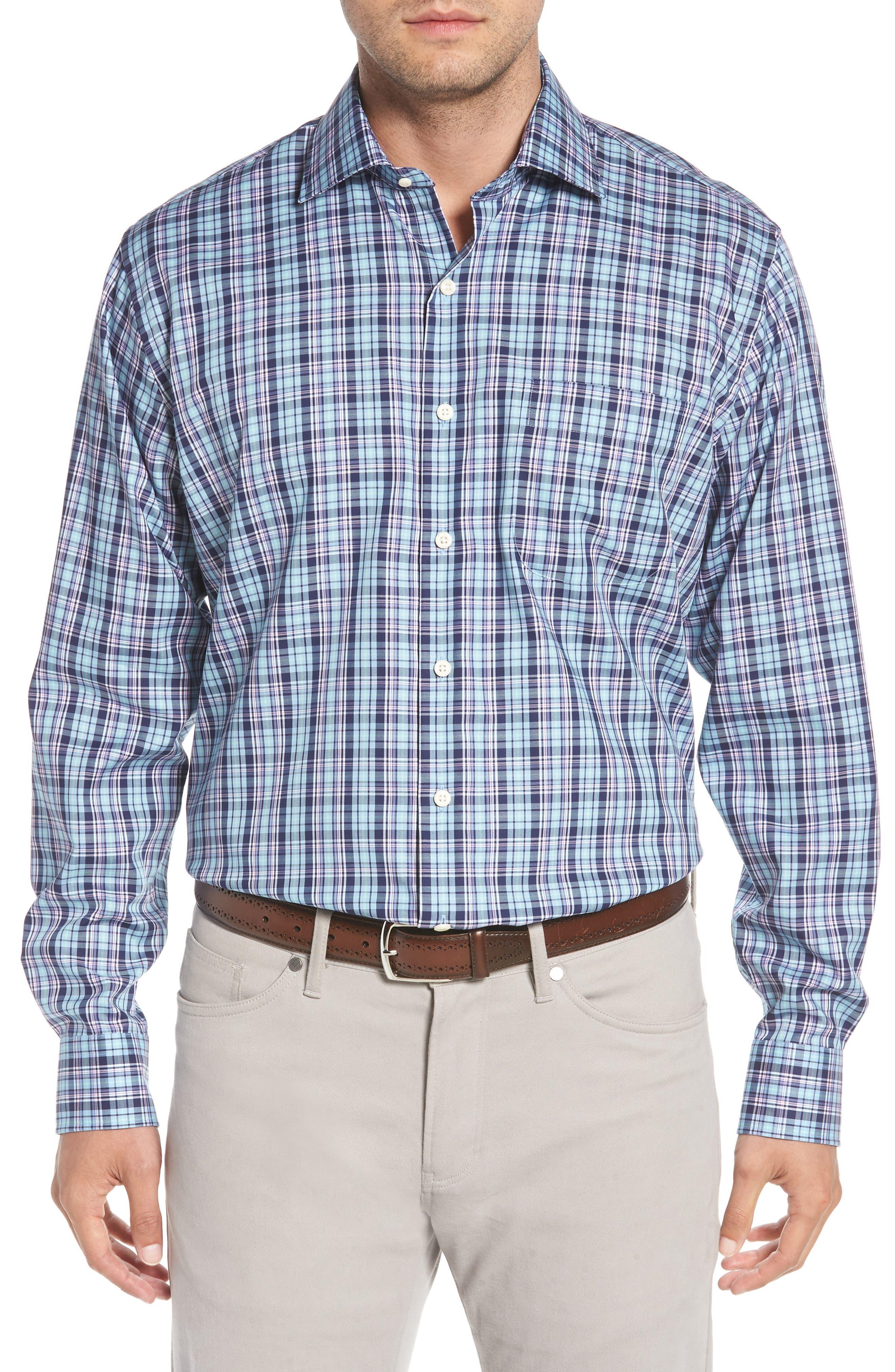 Crown Ease Laguna Plaid Sport Shirt,                         Main,                         color, Tar Heel Blue