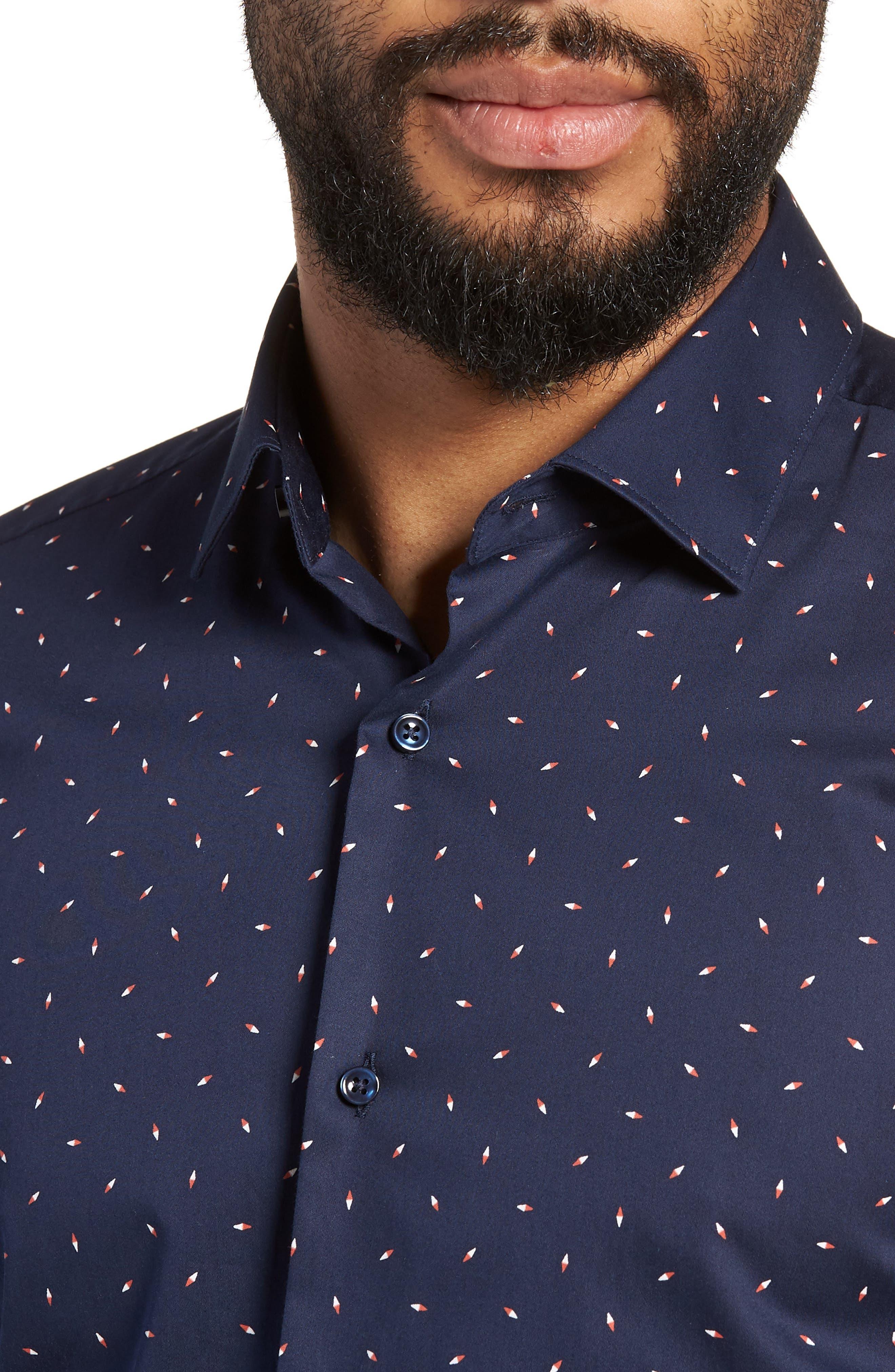 Ismo Slim Fit Print Dress Shirt,                             Alternate thumbnail 2, color,                             Navy