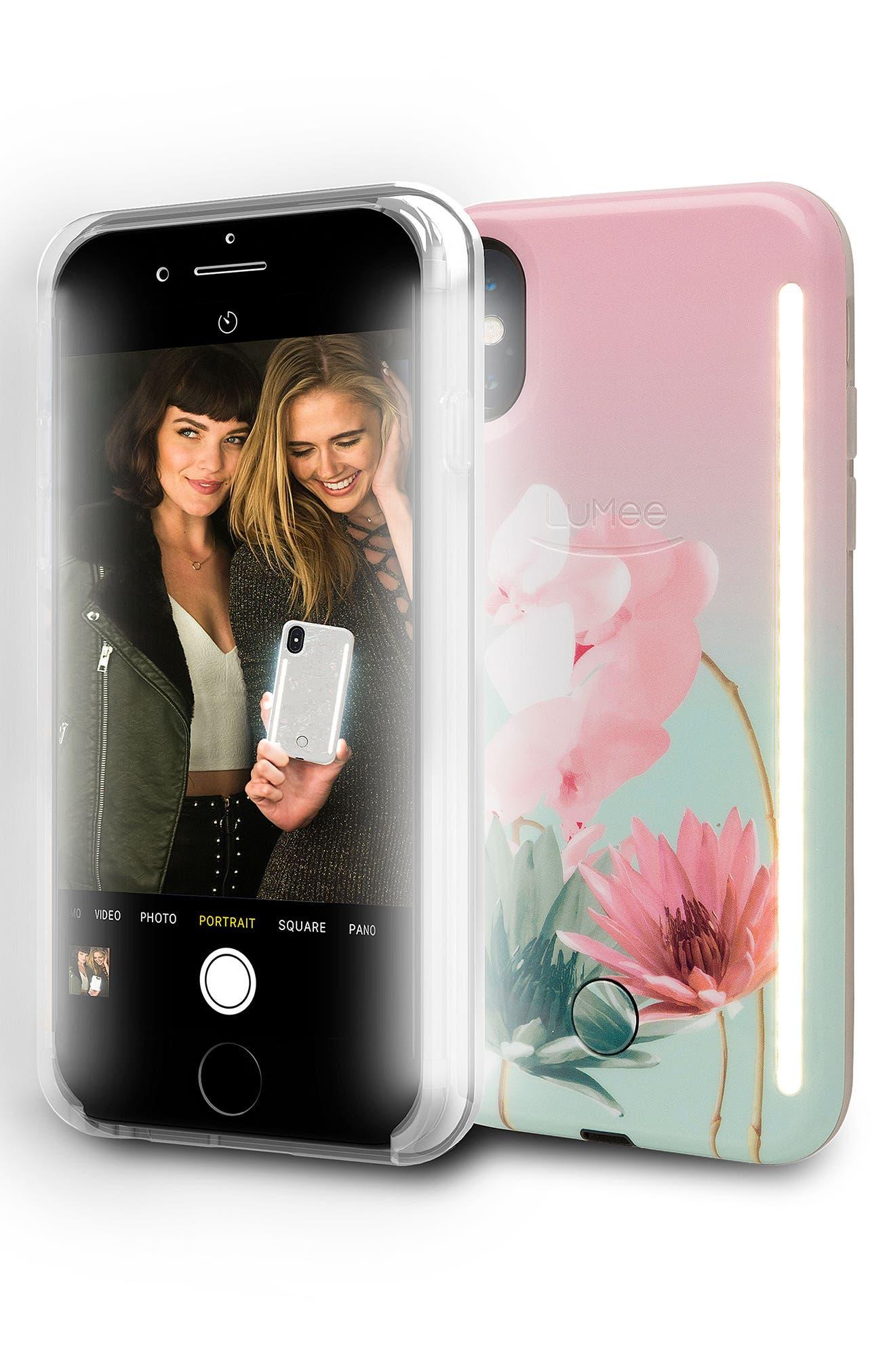 Duo LED Lighted iPhone X Case,                             Alternate thumbnail 3, color,                             Desert Flower