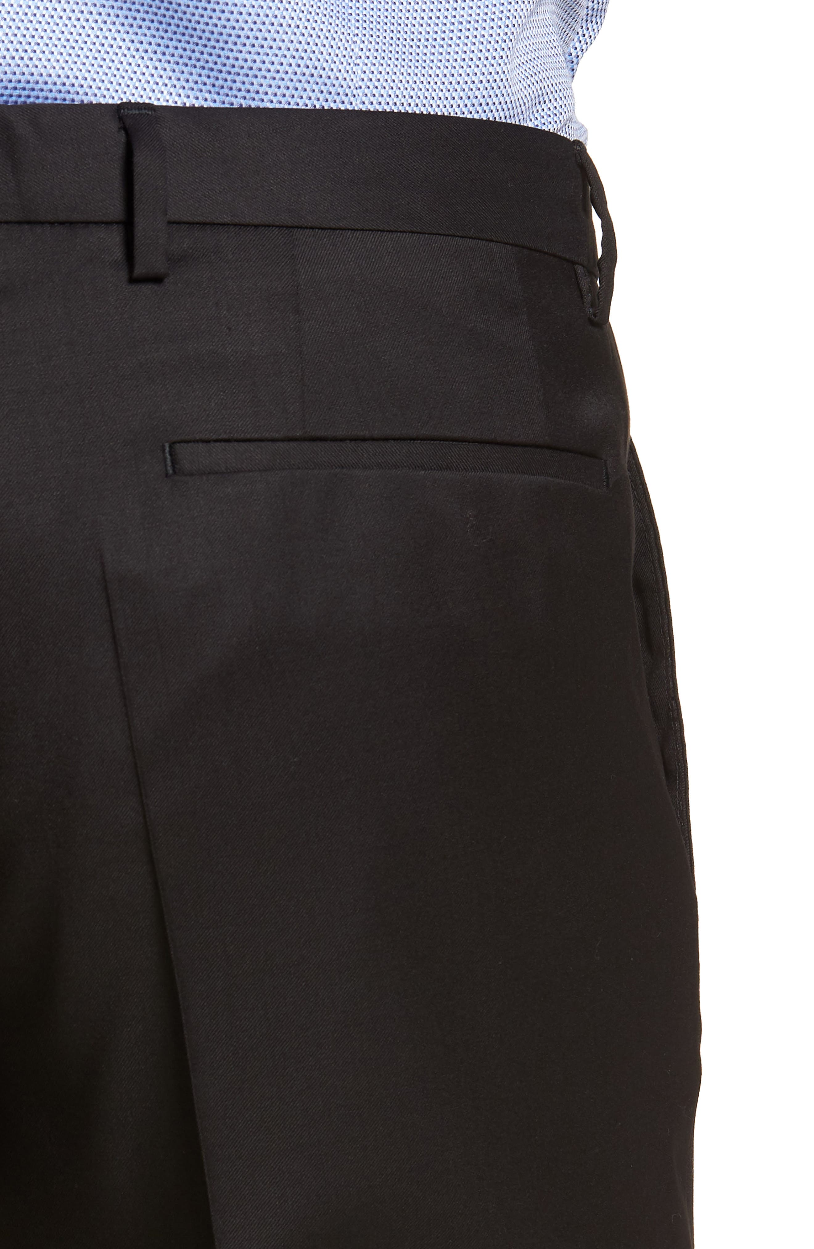 Wave CYL Flat Front Solid Wool Trousers,                             Alternate thumbnail 4, color,                             Black