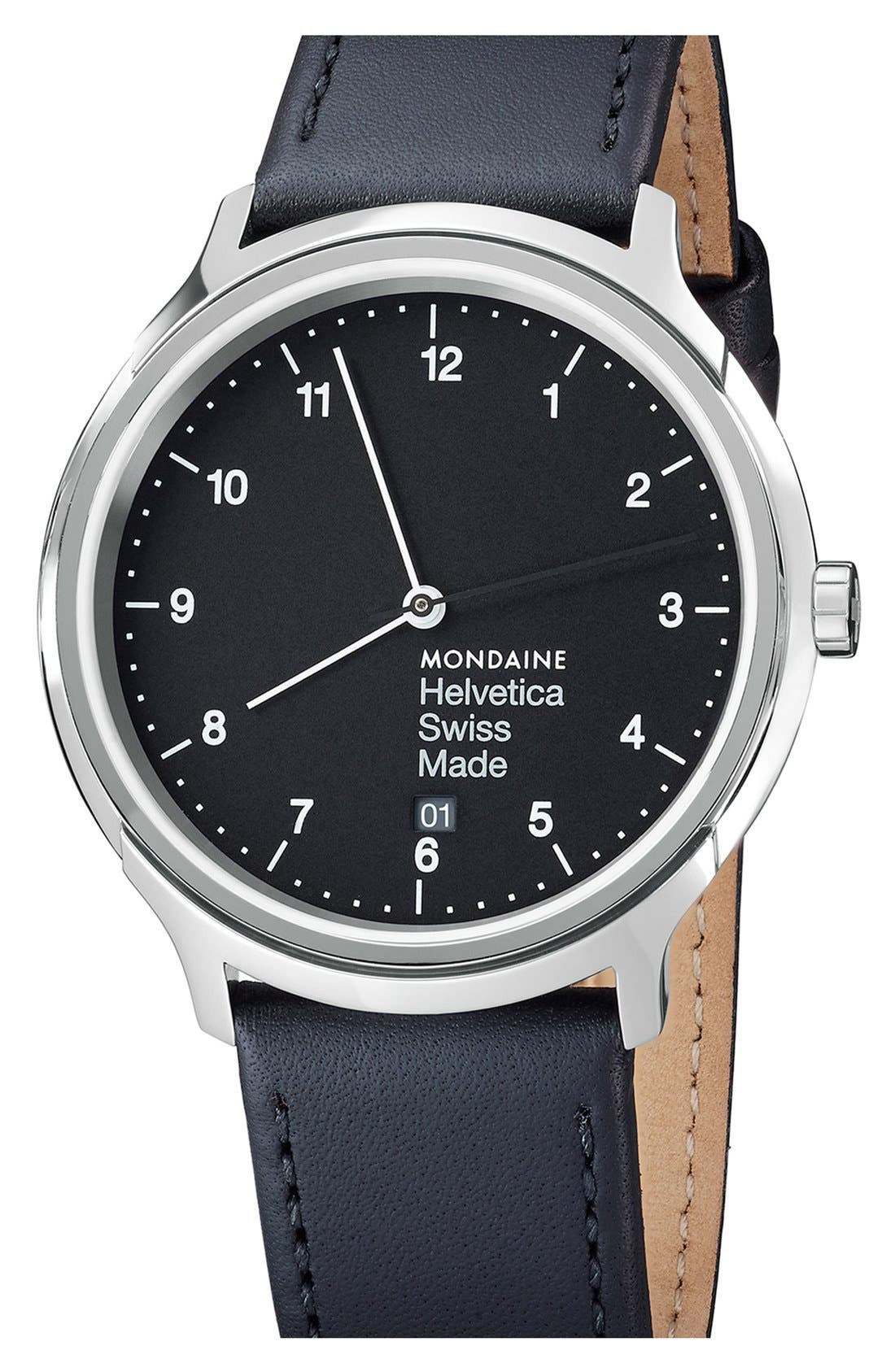 MONDAINE Helvetica No.1 Regular Round Leather Strap Watch, 40mm