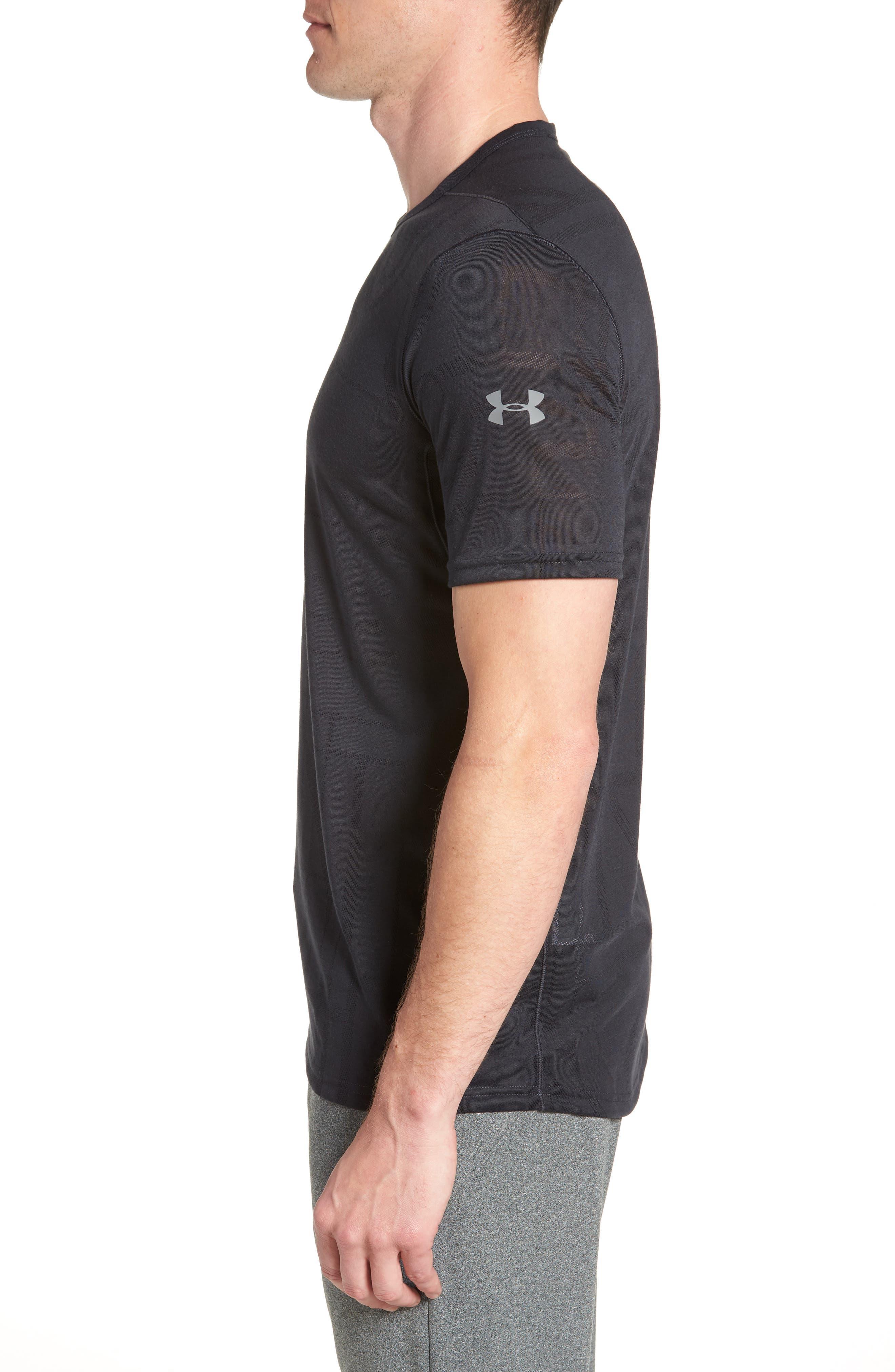 Threadborne Elite Crewneck T-Shirt,                             Alternate thumbnail 3, color,                             Black/ Graphite