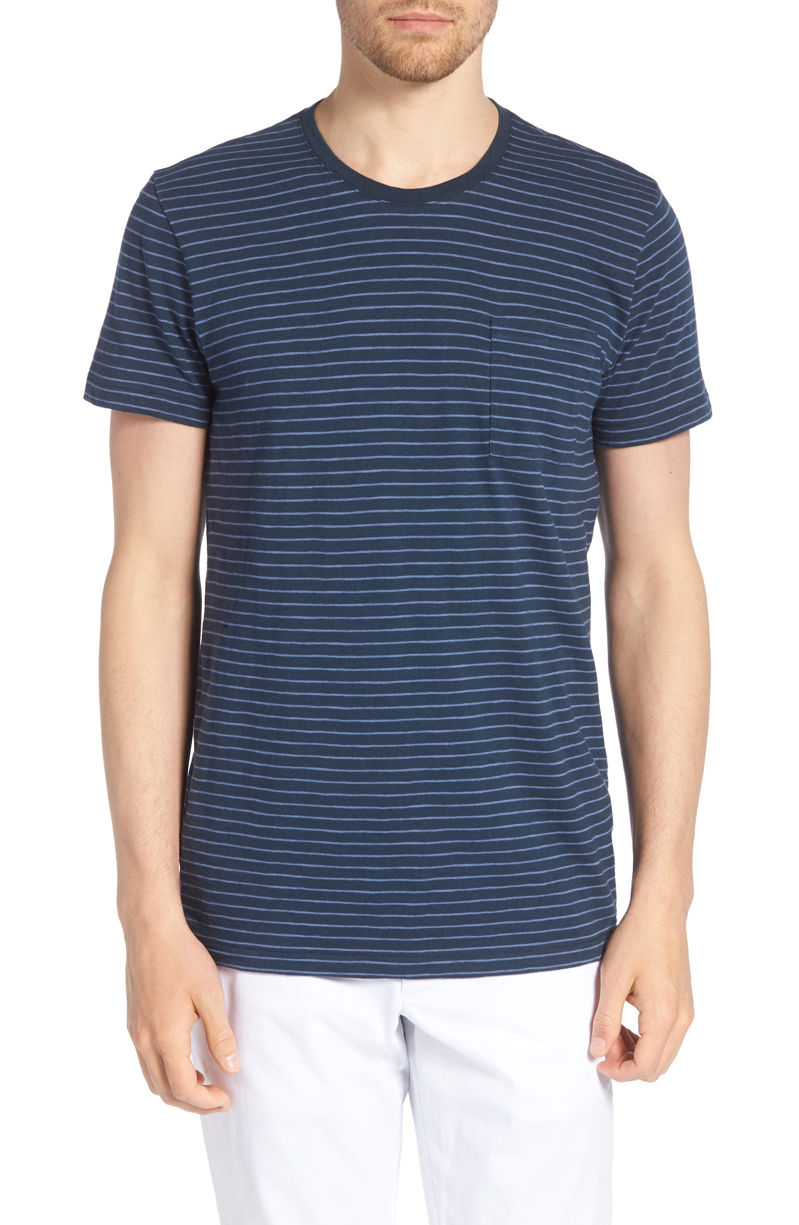 Stripe Slim Fit Pocket T-Shirt,                         Main,                         color, French Navy/ White