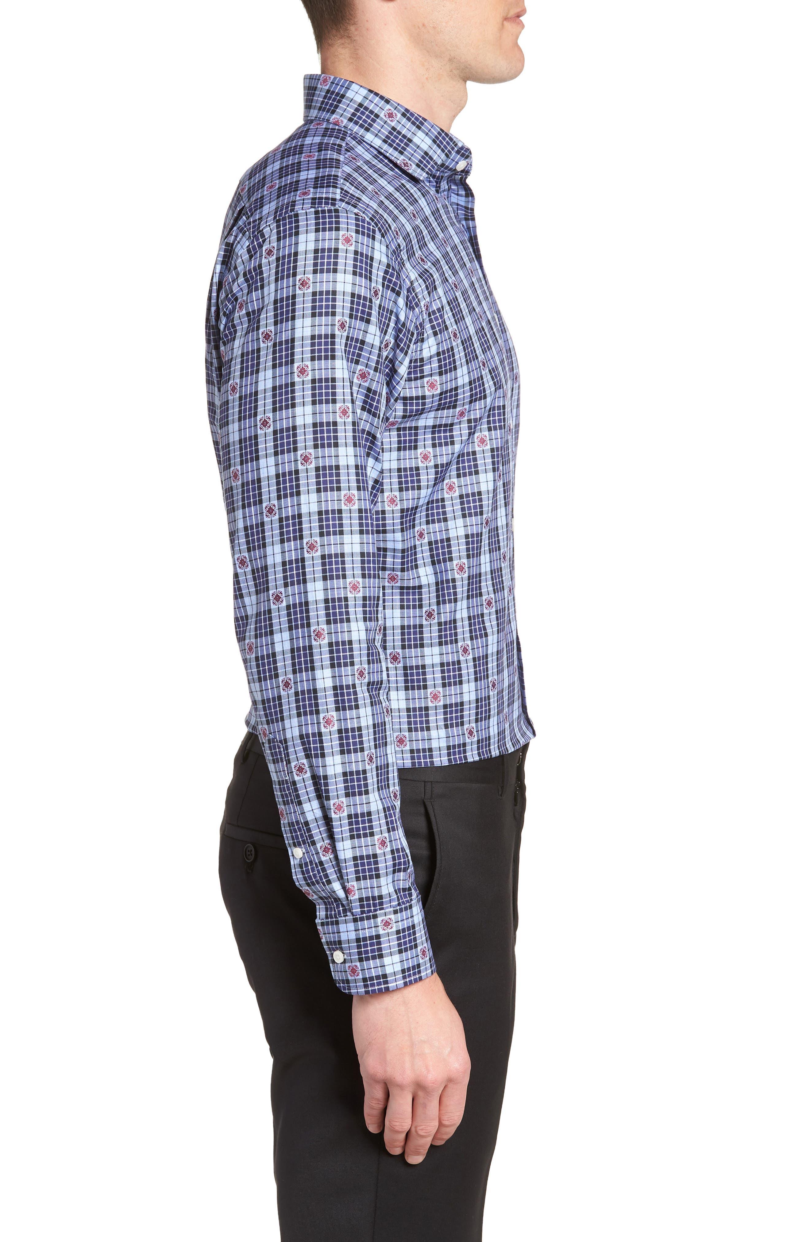 Trim Fit Plaid Dress Shirt,                             Alternate thumbnail 4, color,                             Navy Dress
