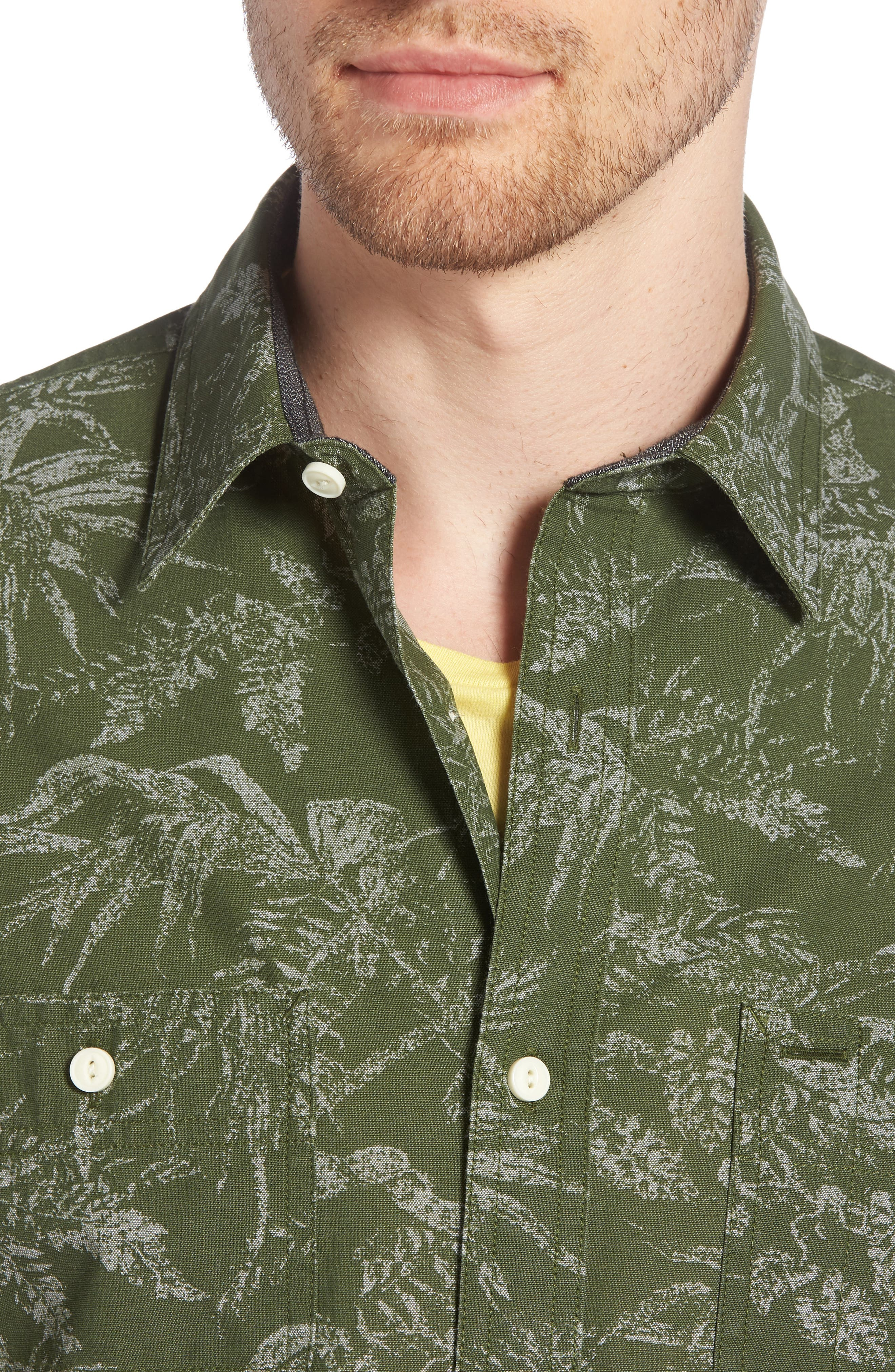 Workwear Trim Fit Leaf Print Sport Shirt,                             Alternate thumbnail 2, color,                             Green Hedge Chambray Palms