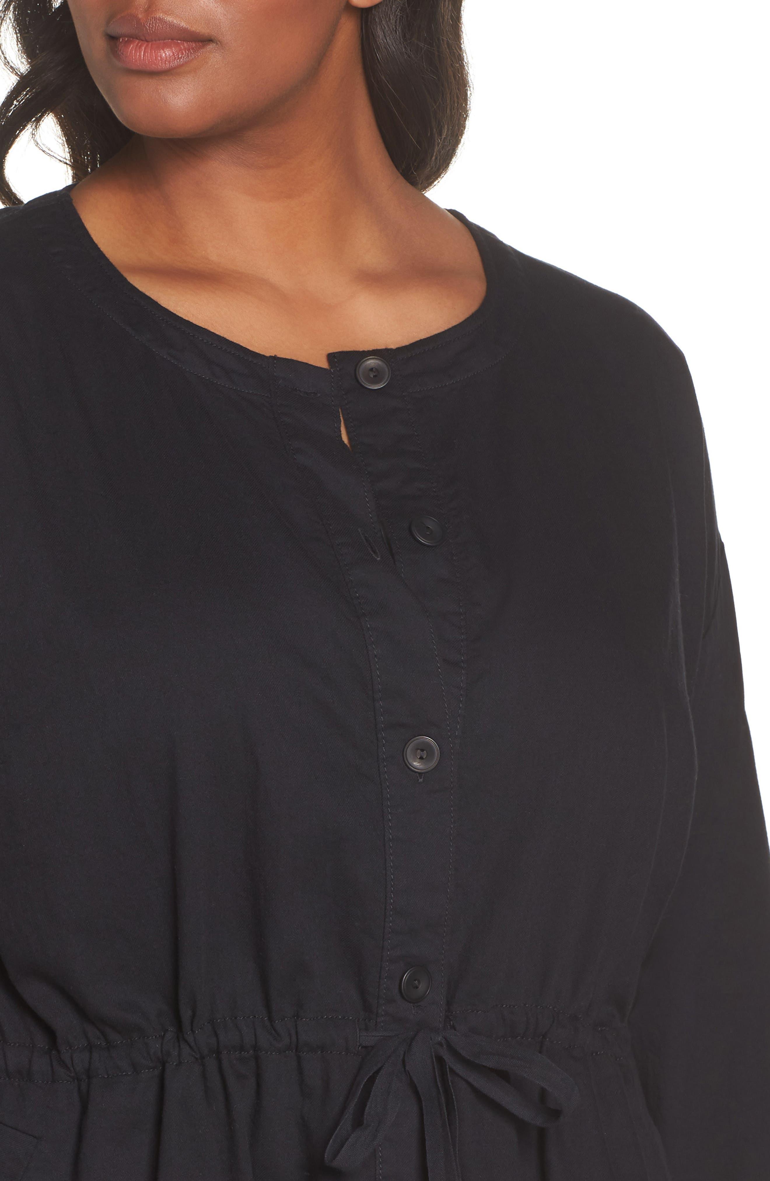 Shirttail Hem Organic Cotton Jacket,                             Alternate thumbnail 4, color,                             Black