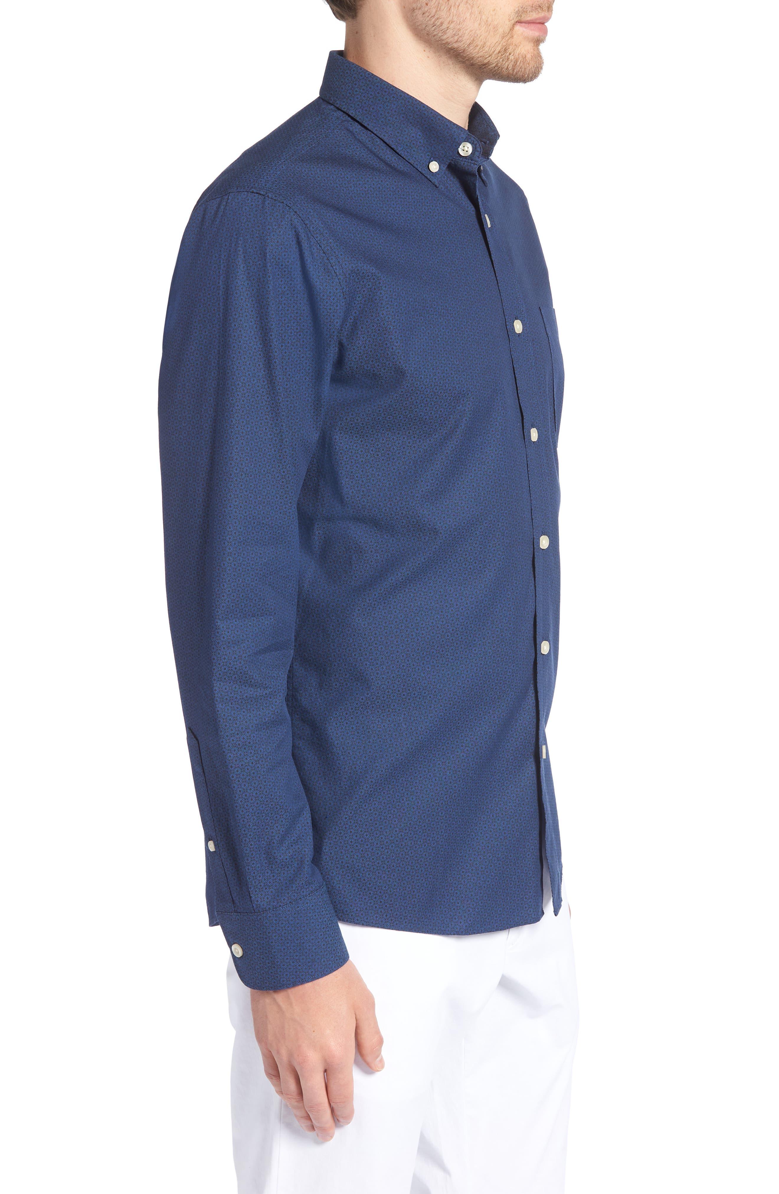Trim Fit Round Pocket Sport Shirt,                             Alternate thumbnail 4, color,                             Blue Black Flower Print