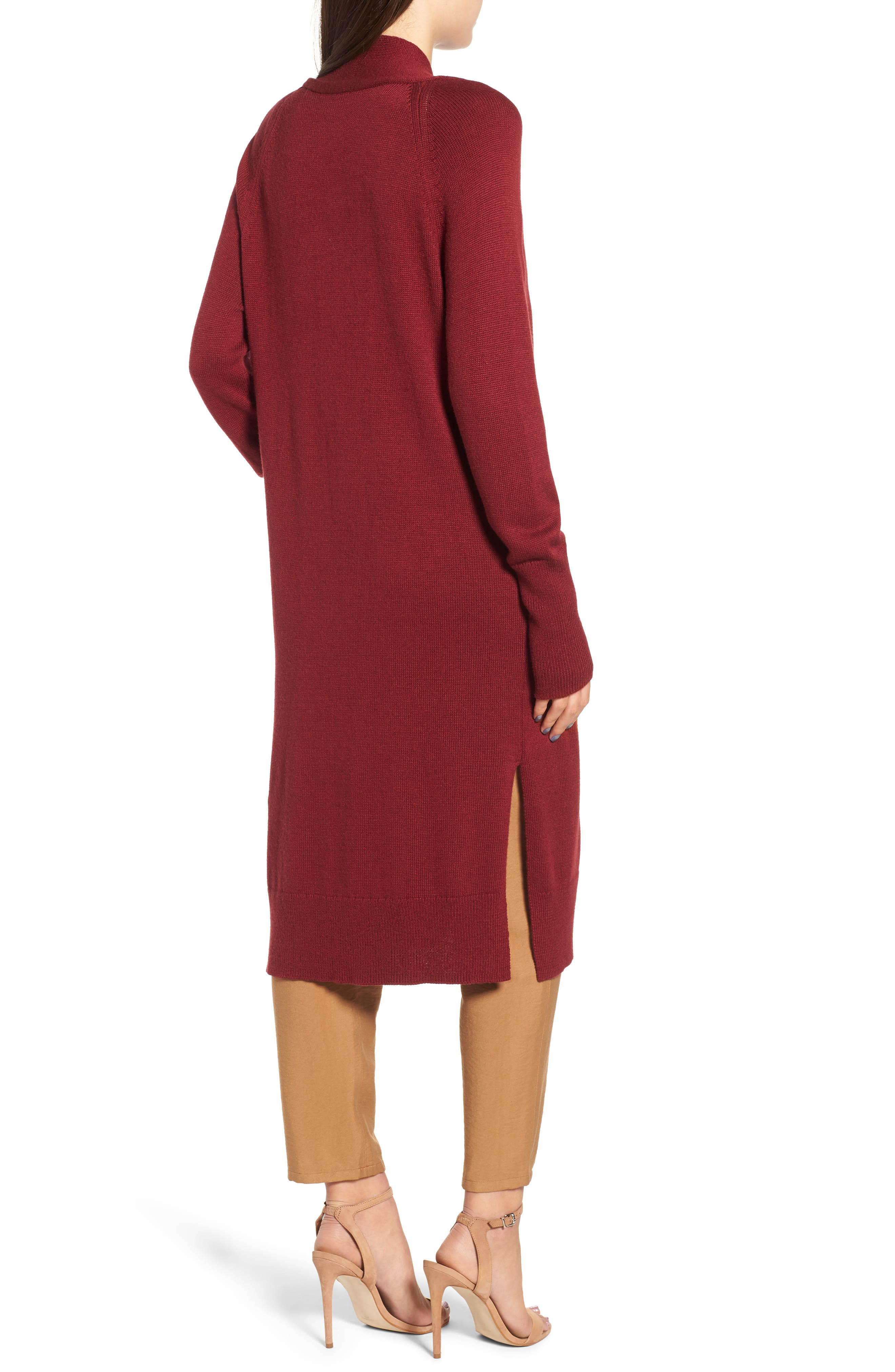 Side Split Midi Cardigan,                             Alternate thumbnail 2, color,                             Red Grape