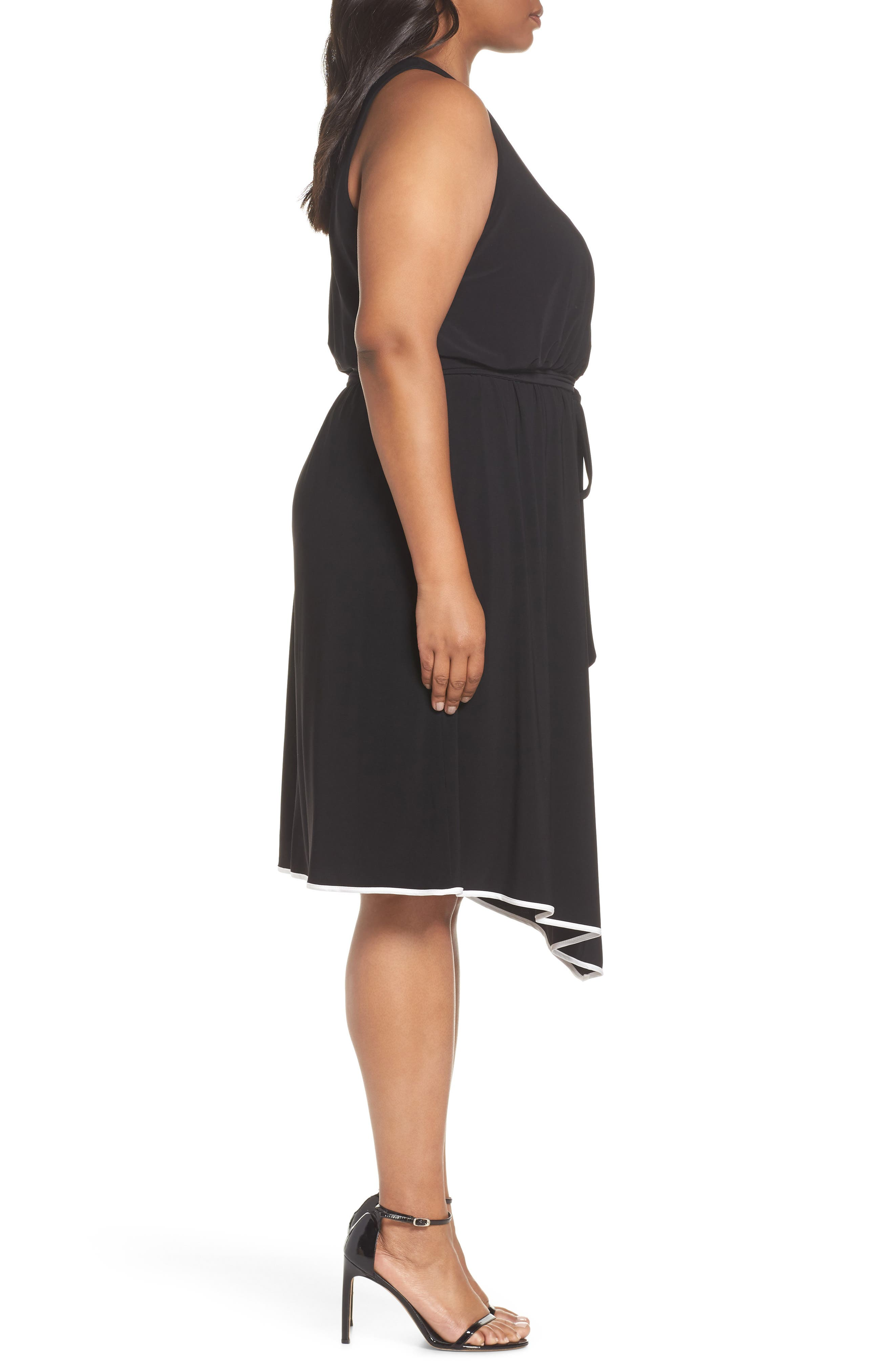 Matte Jersey Handkerchief Hem Dress,                             Alternate thumbnail 6, color,                             Black