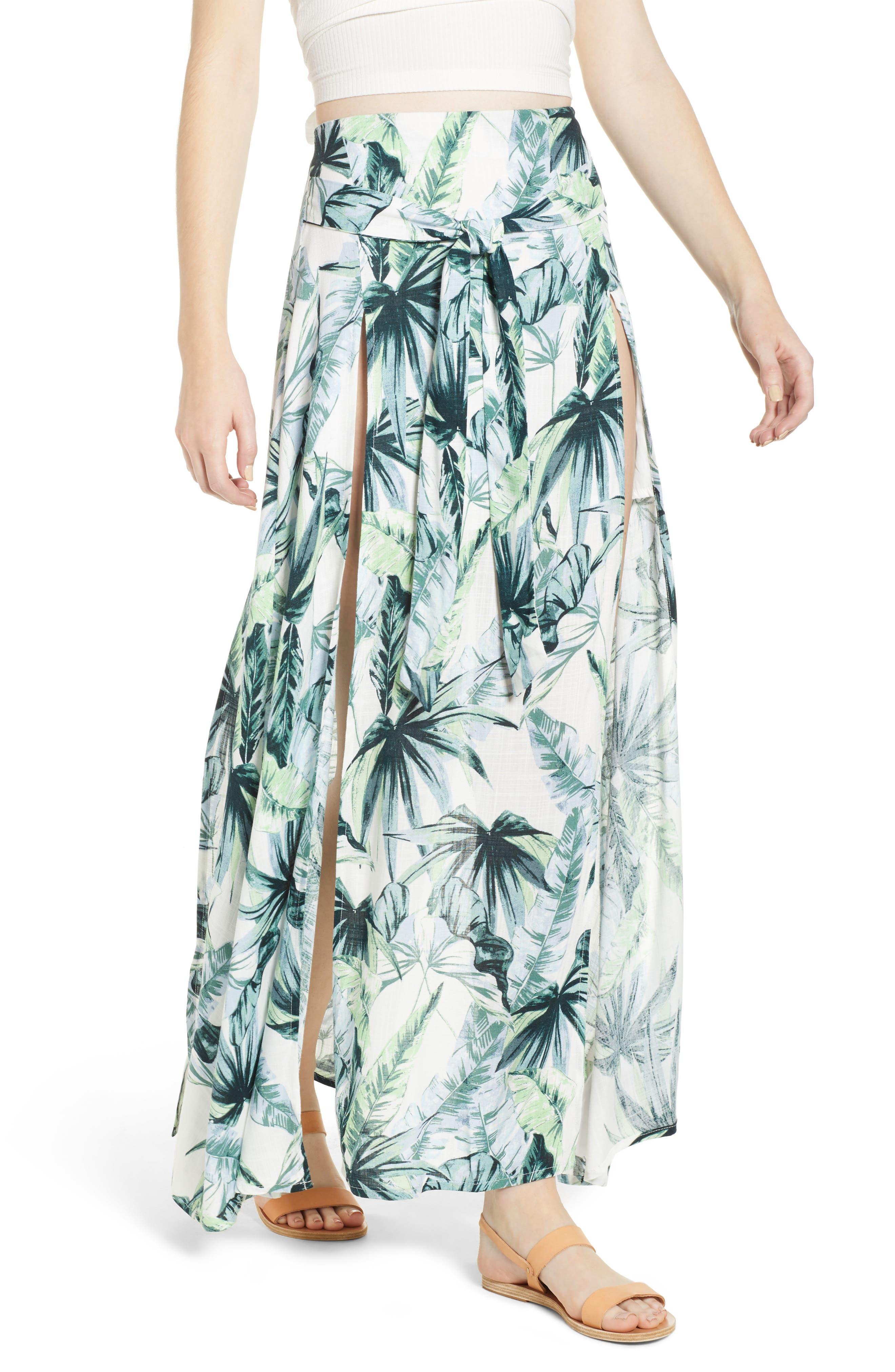 Palm Fringe Skirt,                             Main thumbnail 1, color,                             Multi