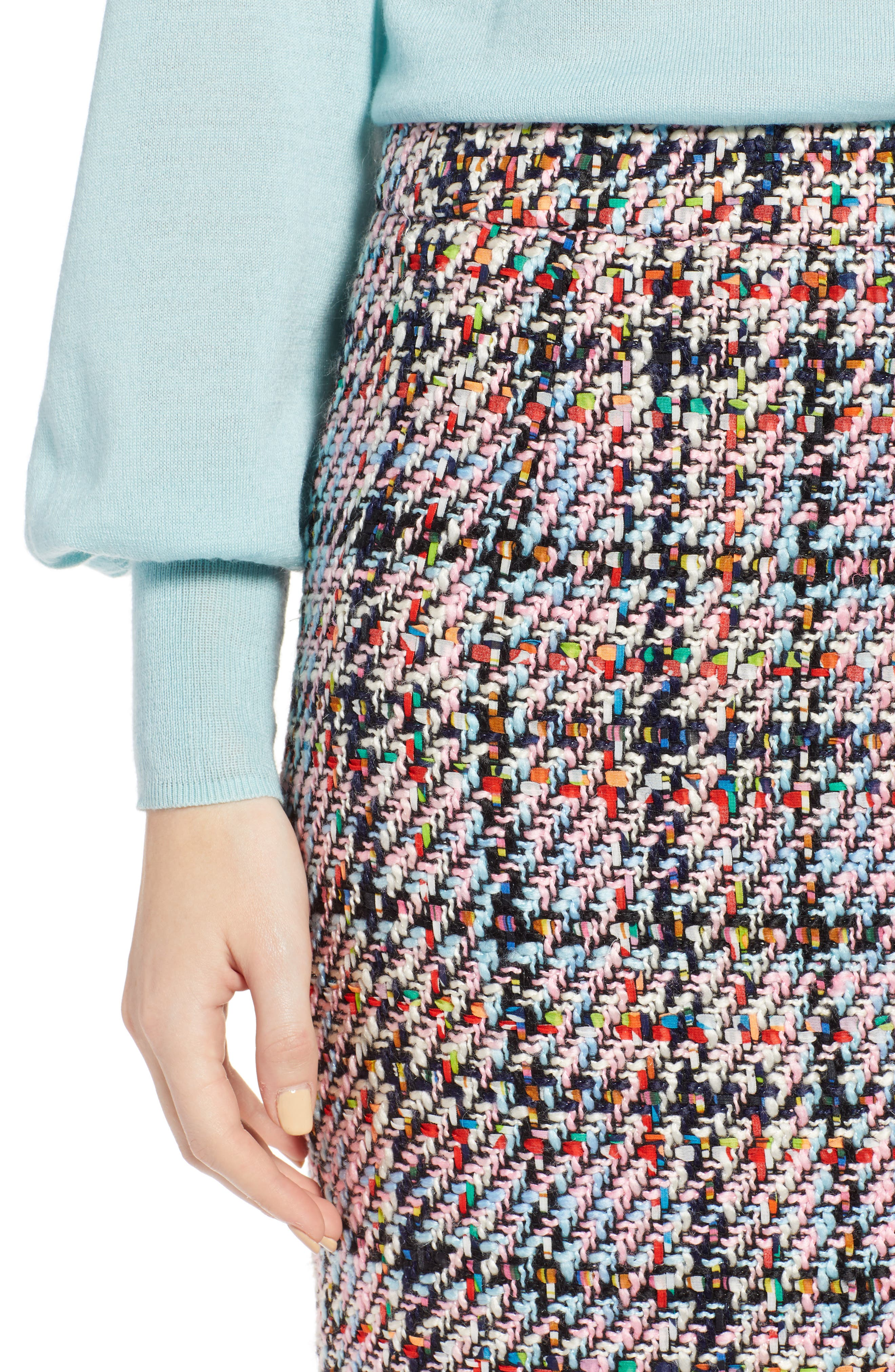 Tweed Midi Skirt,                             Alternate thumbnail 4, color,                             Pink Multi Tweed