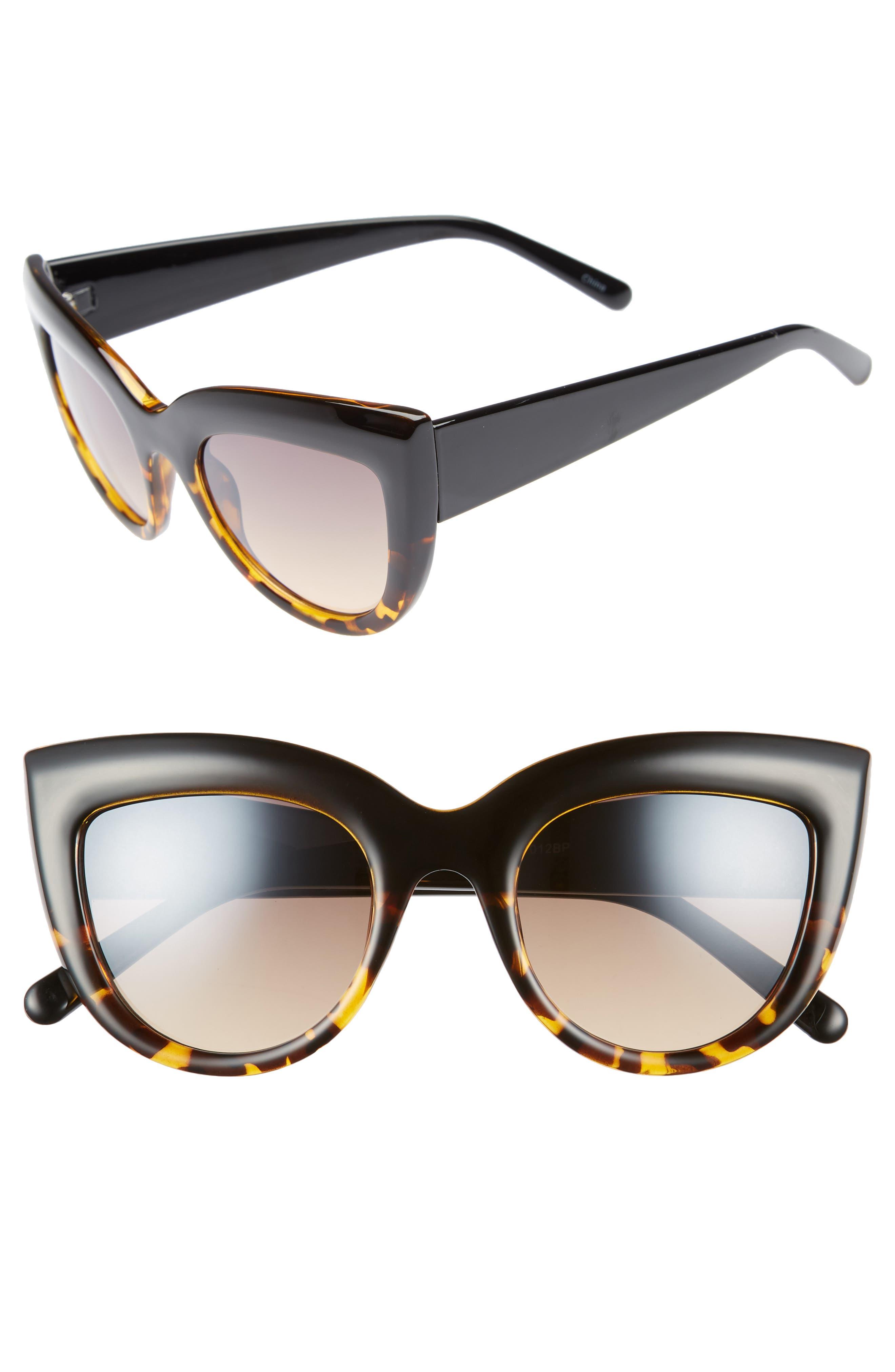 60mm Two-Tone Cat Eye Sunglasses,                             Main thumbnail 1, color,                             Black/ Tort