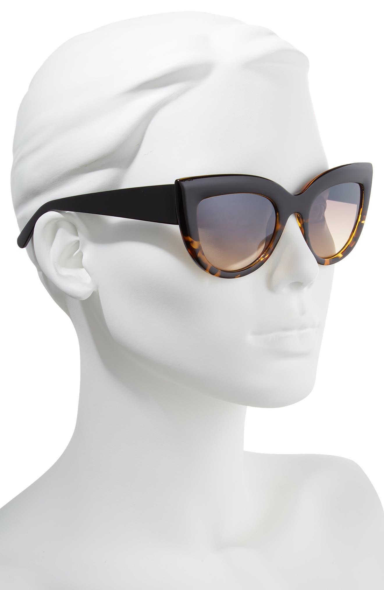 60mm Two-Tone Cat Eye Sunglasses,                             Alternate thumbnail 2, color,                             Black/ Tort