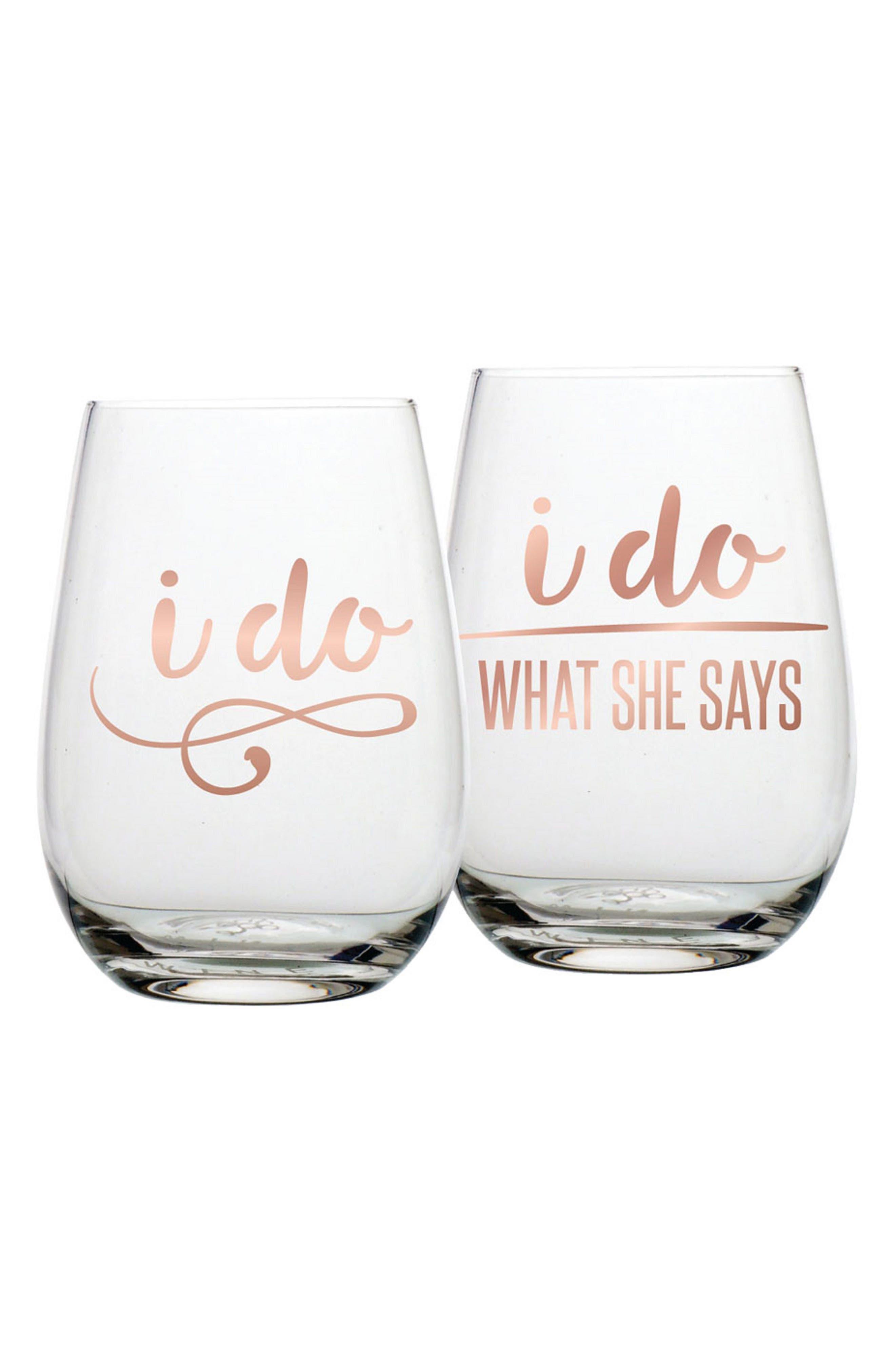 Slant Collections I Do Set of 2 Stemless Wine Glasses