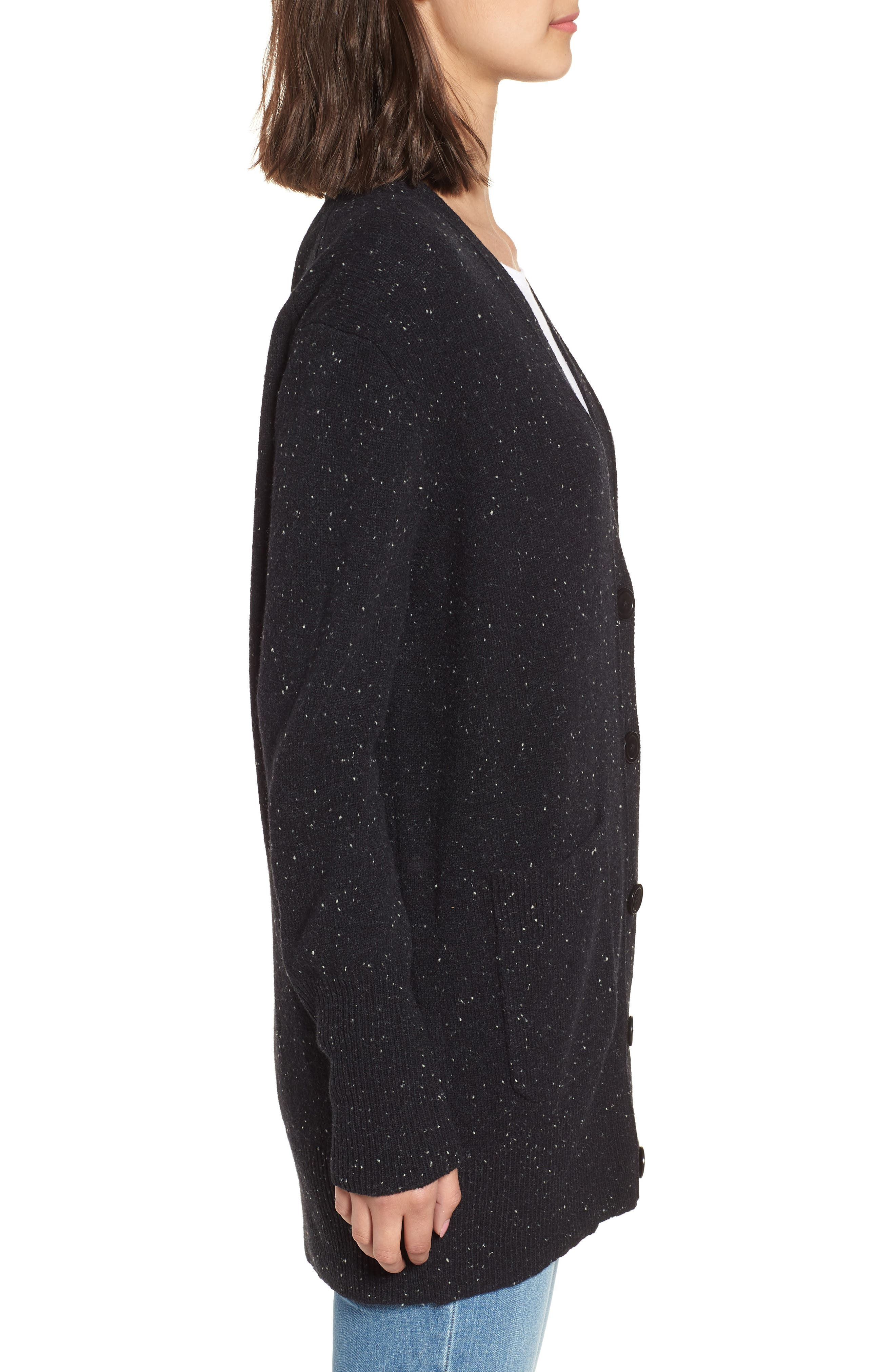 Long Donegal Wool Cardigan,                             Alternate thumbnail 3, color,                             Black Donegal