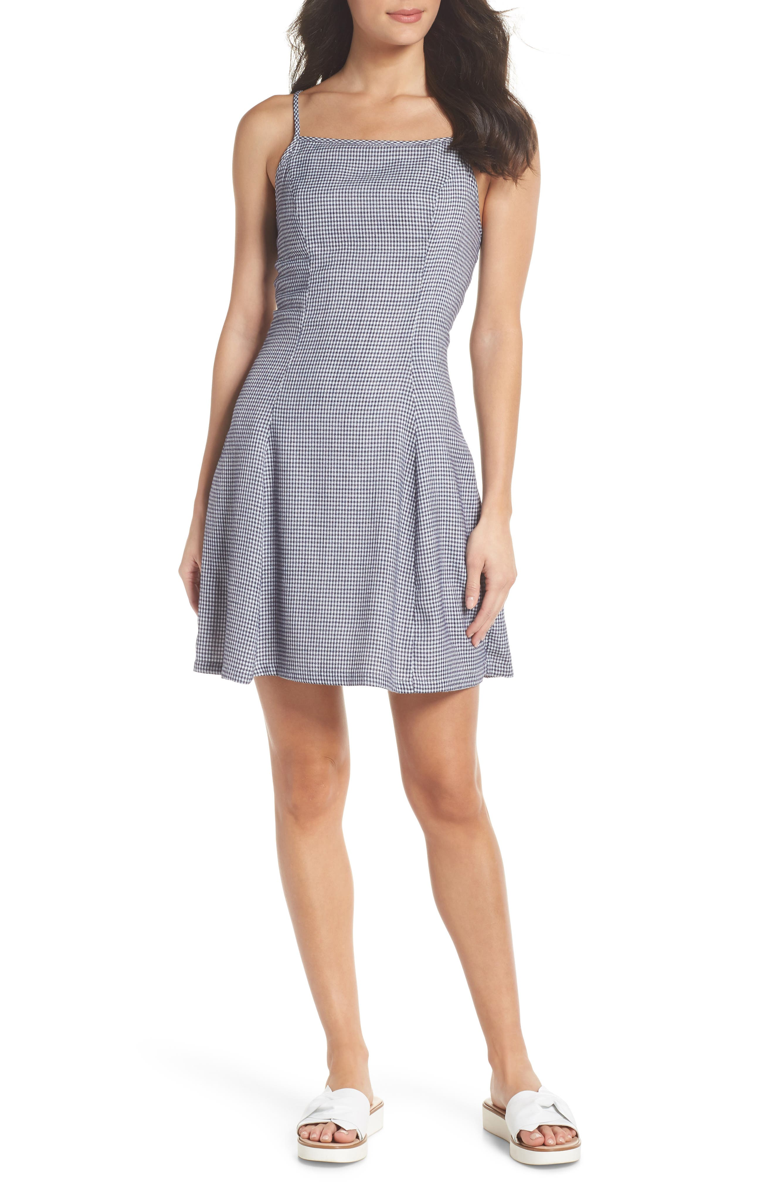 Back Lace-Up Fit & Flare Dress,                             Main thumbnail 1, color,                             Navy