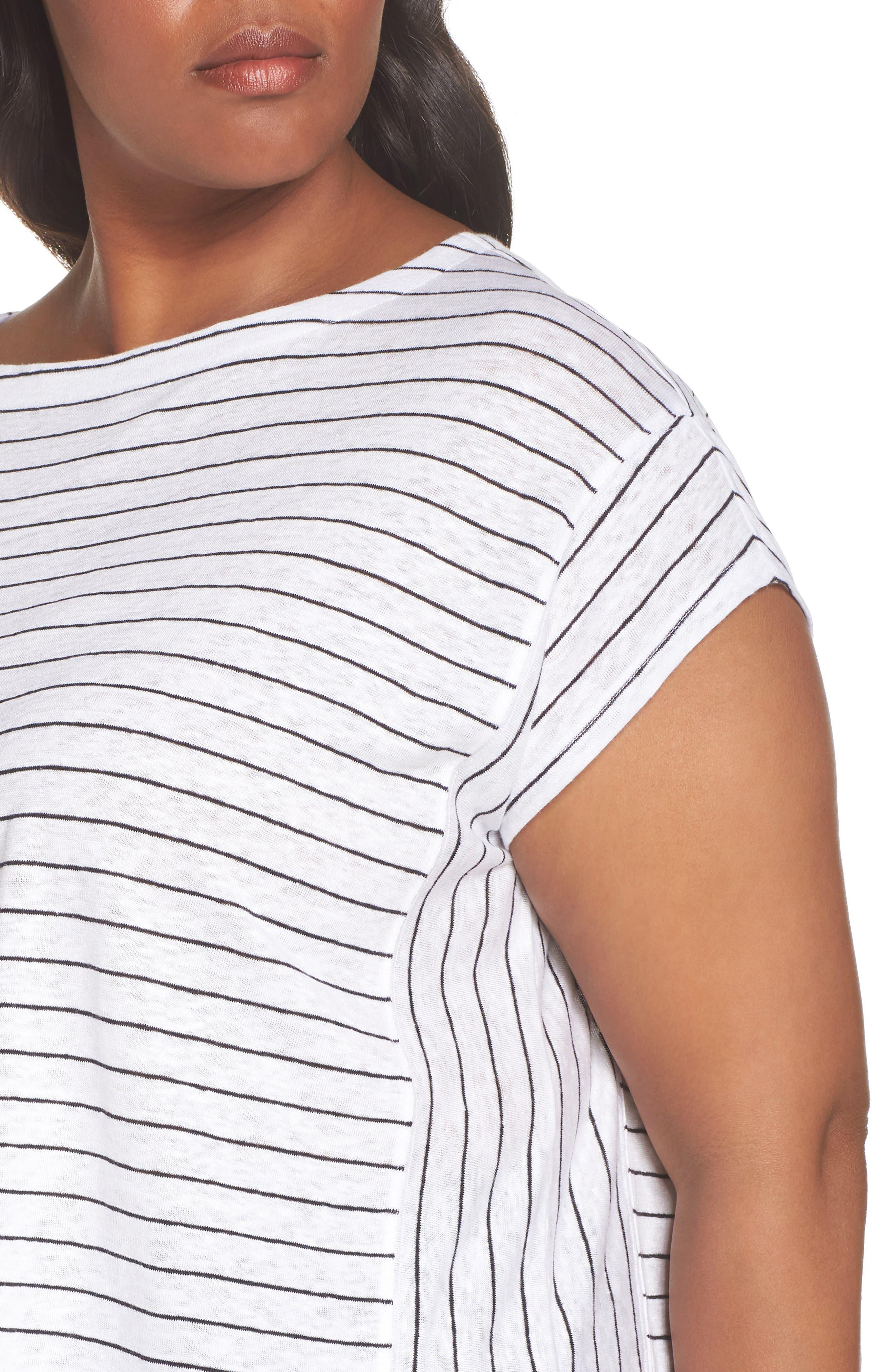 Bateau Neck Stripe Linen Top,                             Alternate thumbnail 4, color,                             White/ Black