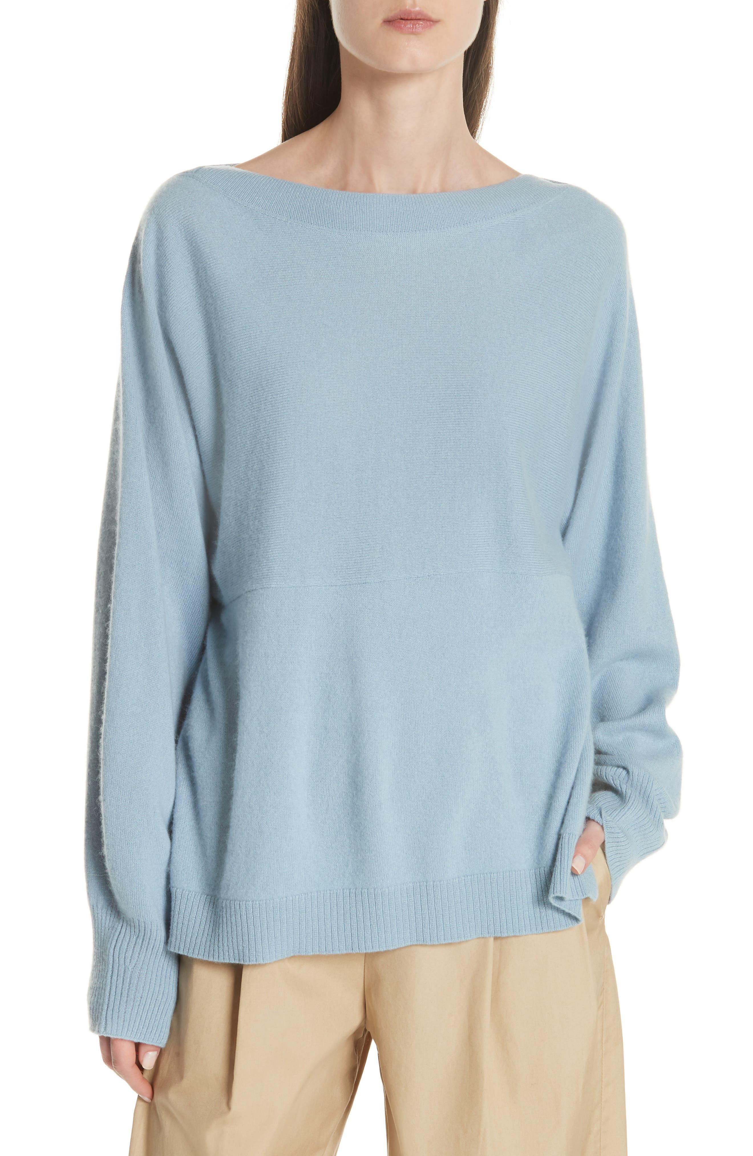 Layered Back Wool Cashmere Boatneck Sweater,                             Main thumbnail 1, color,                             Glass