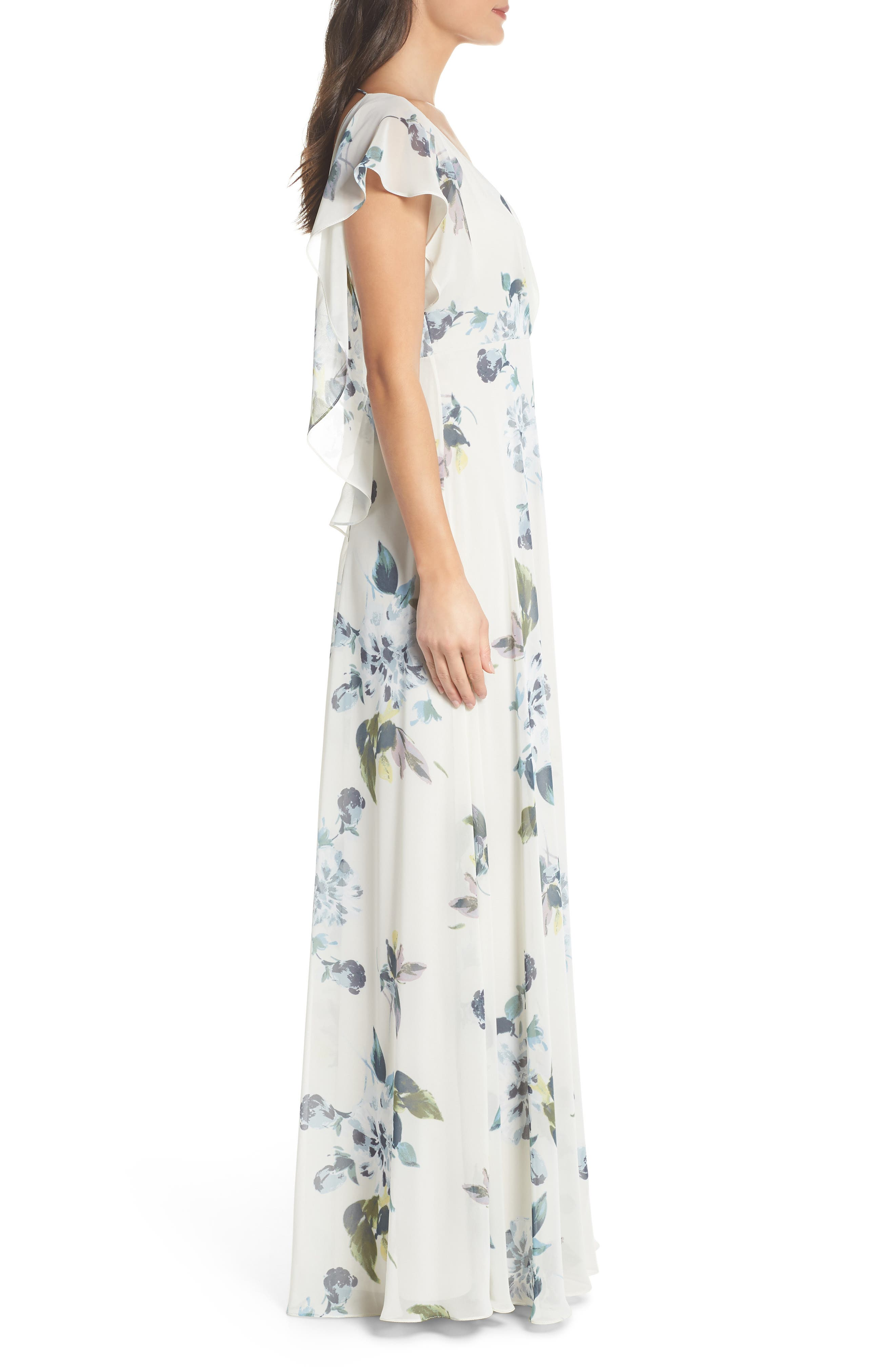 Alanna Ohana Print Open Back Print Chiffon Gown,                             Alternate thumbnail 3, color,                             Soft Sage Blue