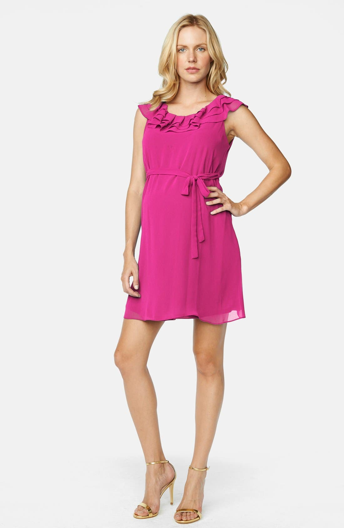 Ruffled Maternity Dress,                         Main,                         color, Magenta