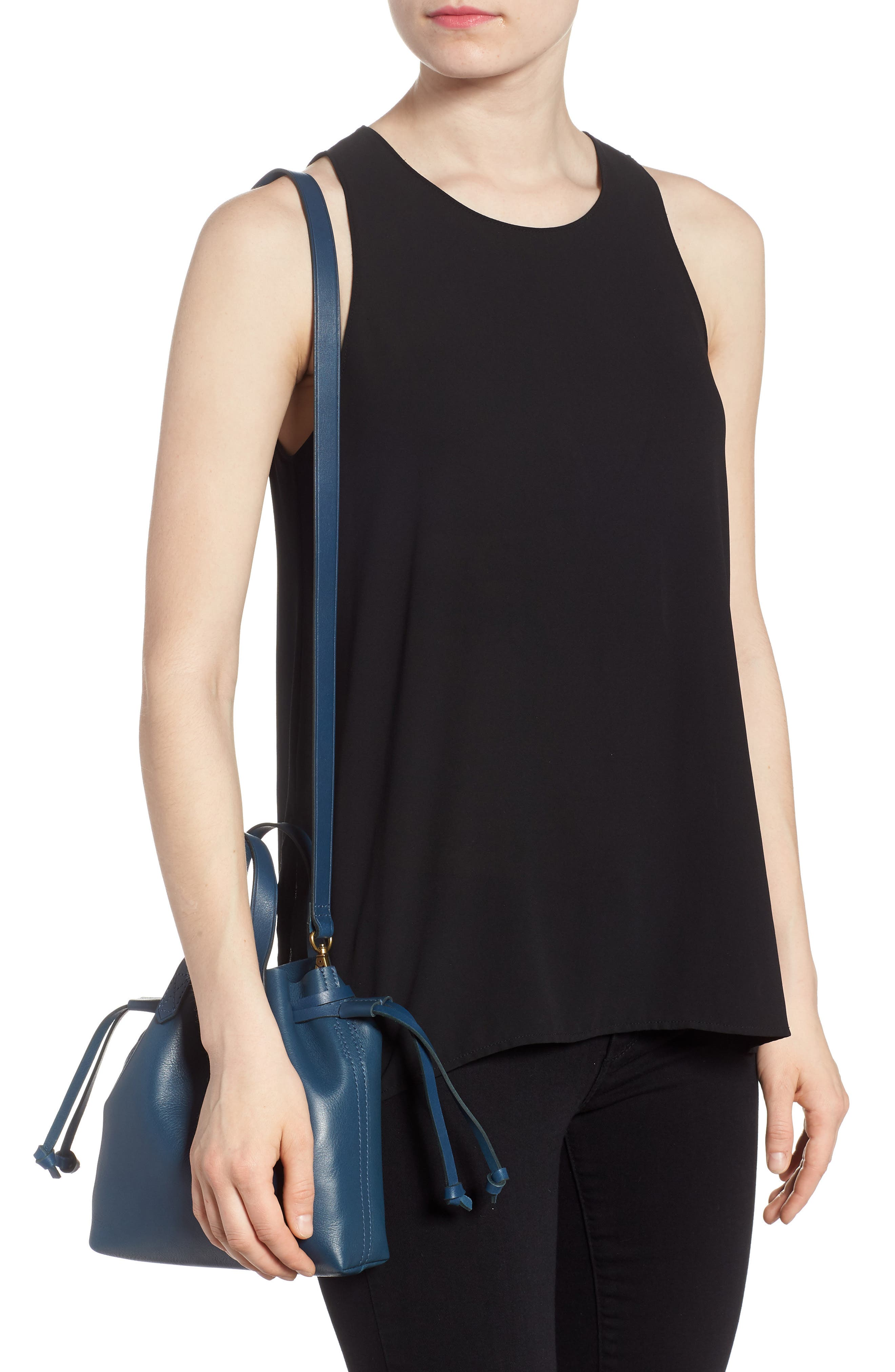 The Mini Pocket Transport Leather Drawstring Tote,                             Alternate thumbnail 2, color,                             Blue Hematite