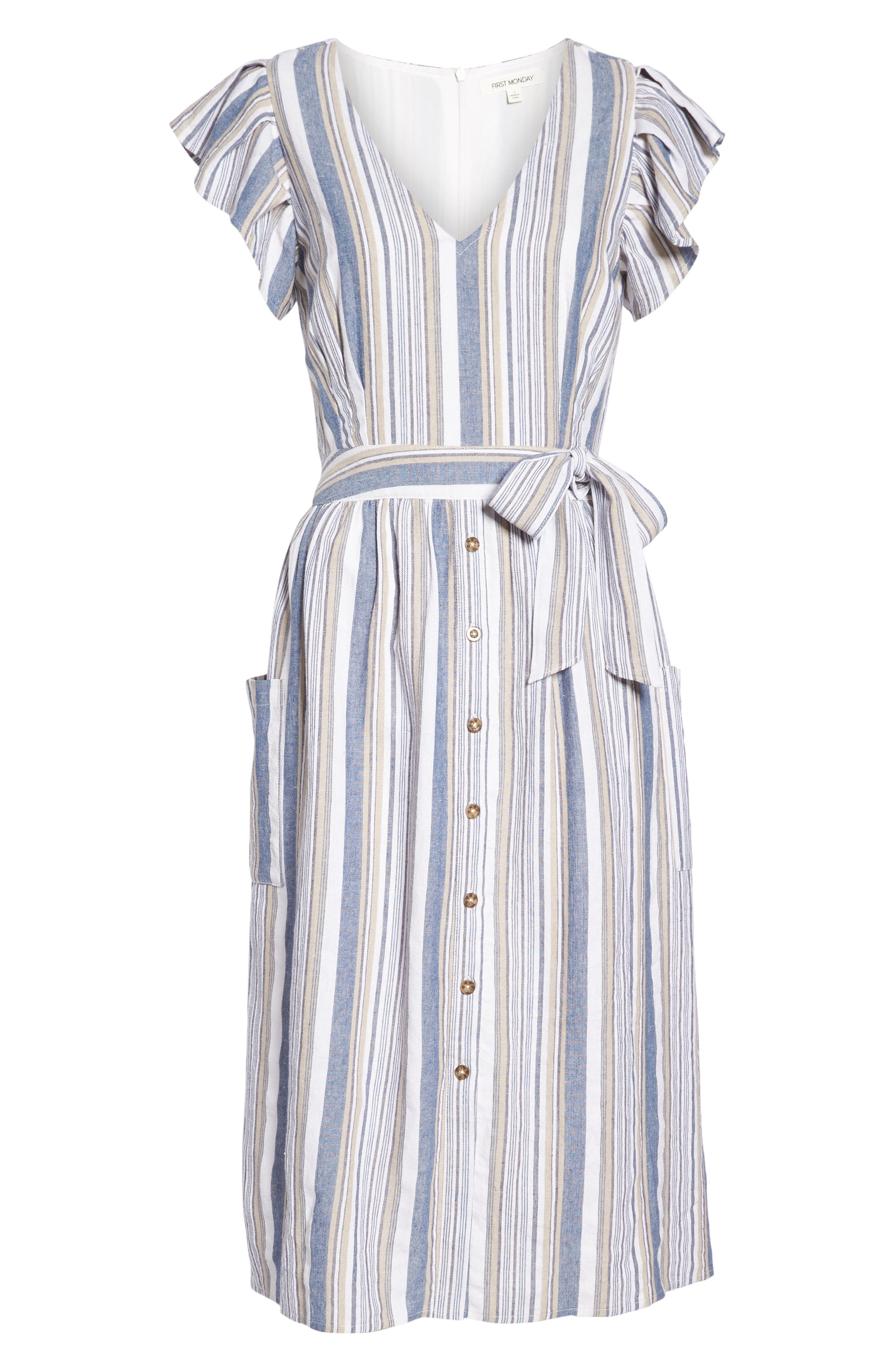 Stripe Button Front Fit & Flare Midi Dress,                             Alternate thumbnail 7, color,                             Blue Multi