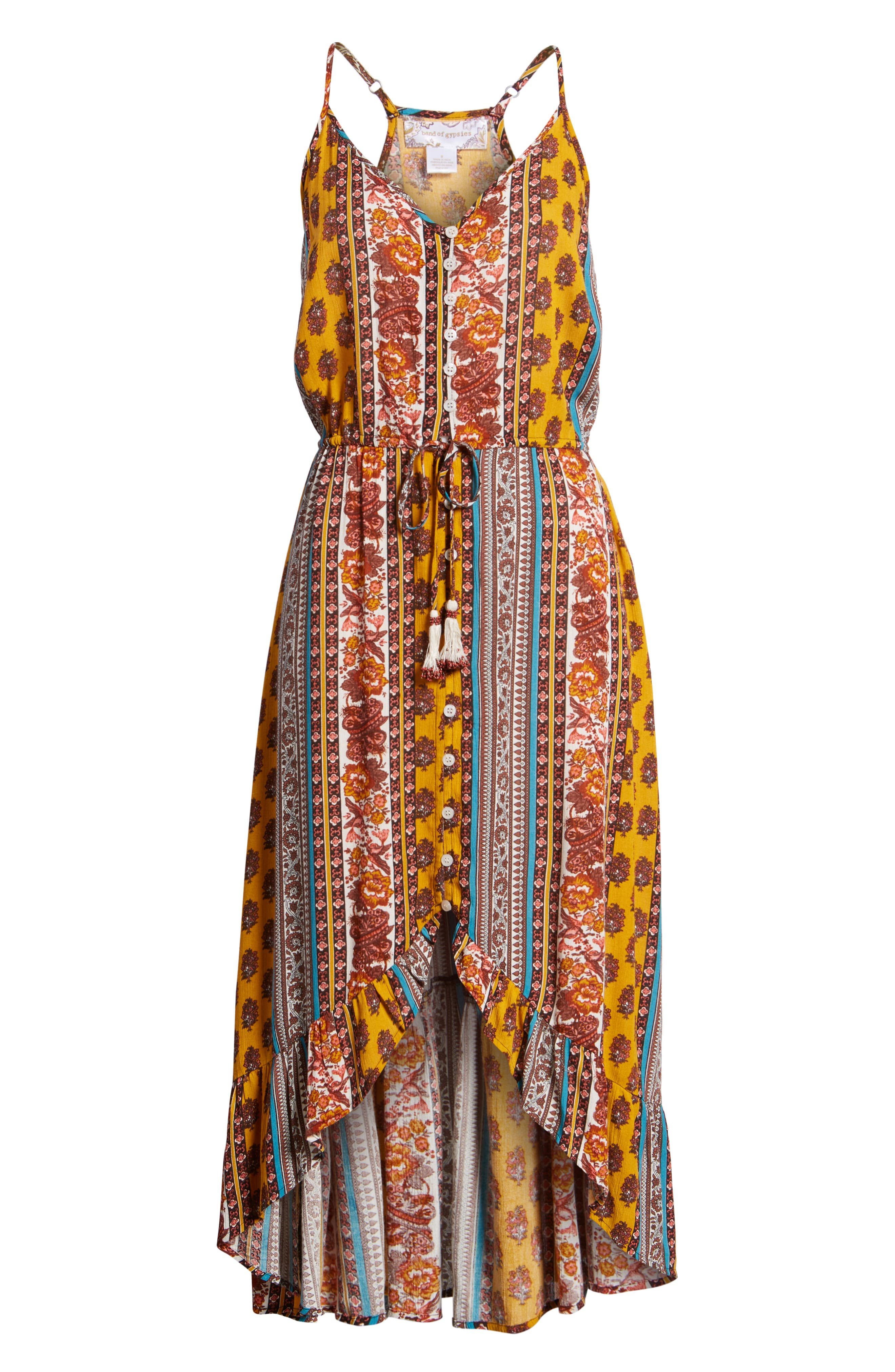 Geo Stripe High/Low Dress,                             Alternate thumbnail 7, color,                             Gold/ Teal