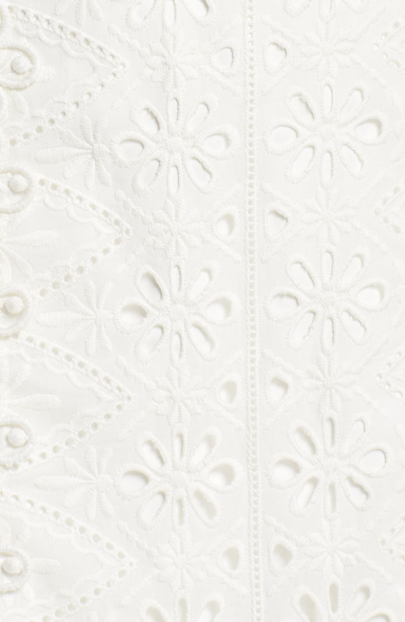 Broderie Anglaise Dress,                             Alternate thumbnail 6, color,                             White
