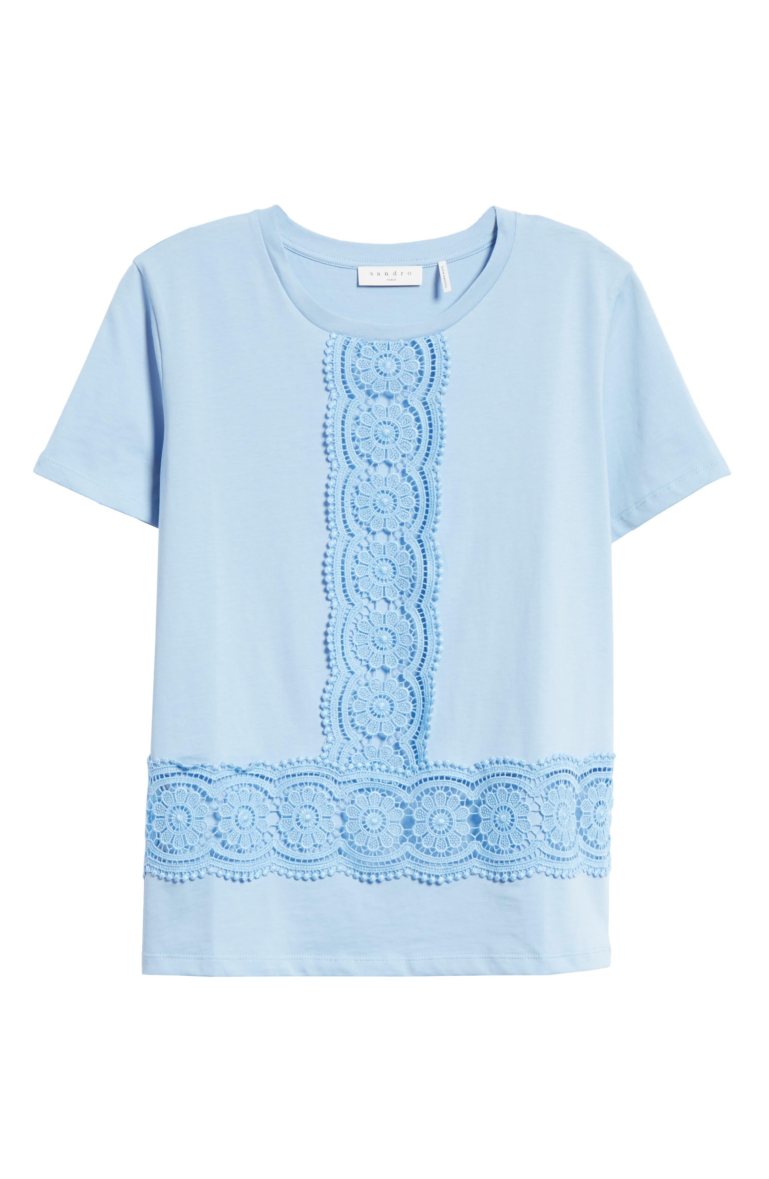 Lace Inset Cotton Top,                             Alternate thumbnail 6, color,                             Bleu Ciel