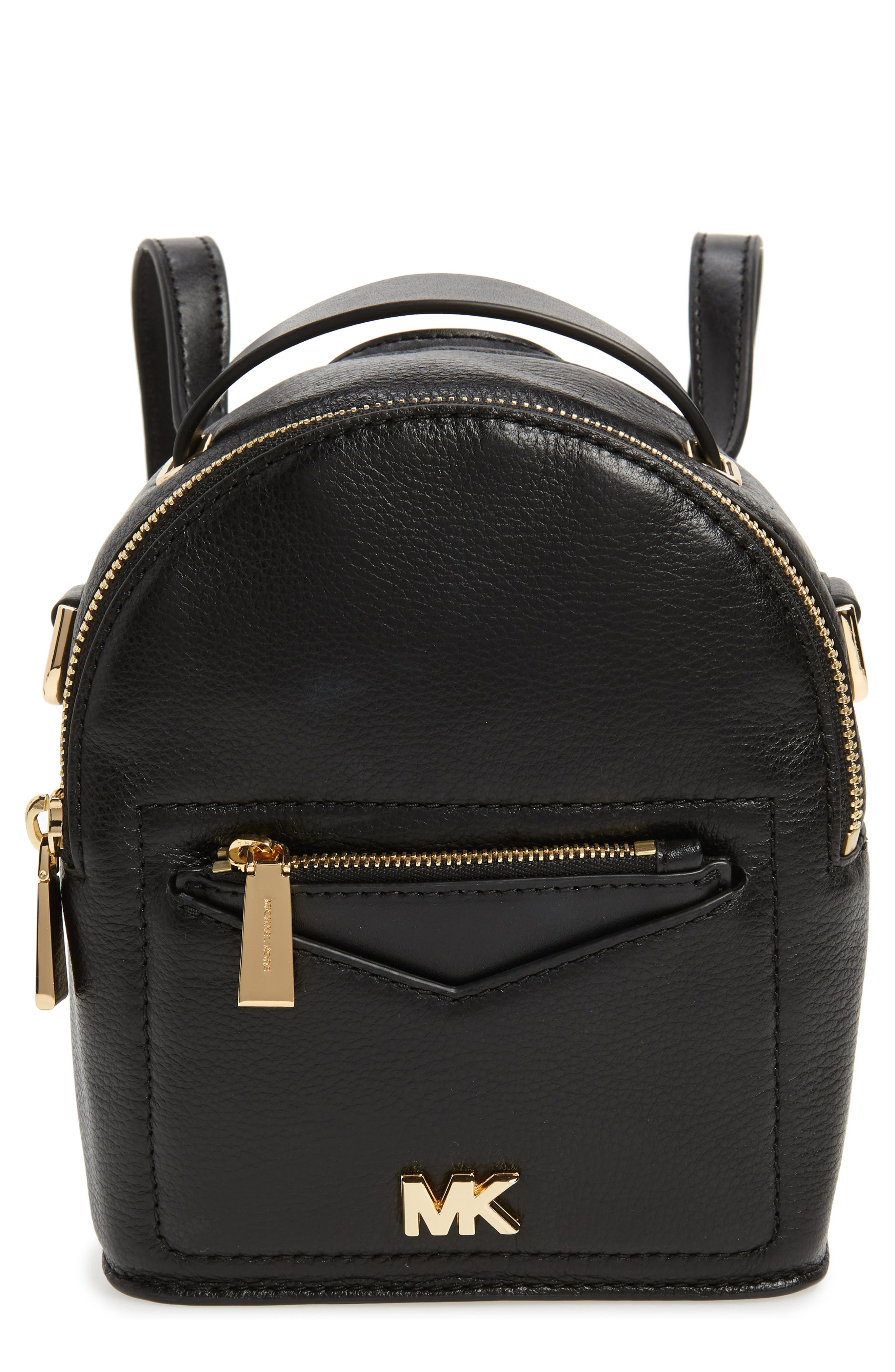 X-Small Convertible Leather Backpack,                             Main thumbnail 1, color,                             Black