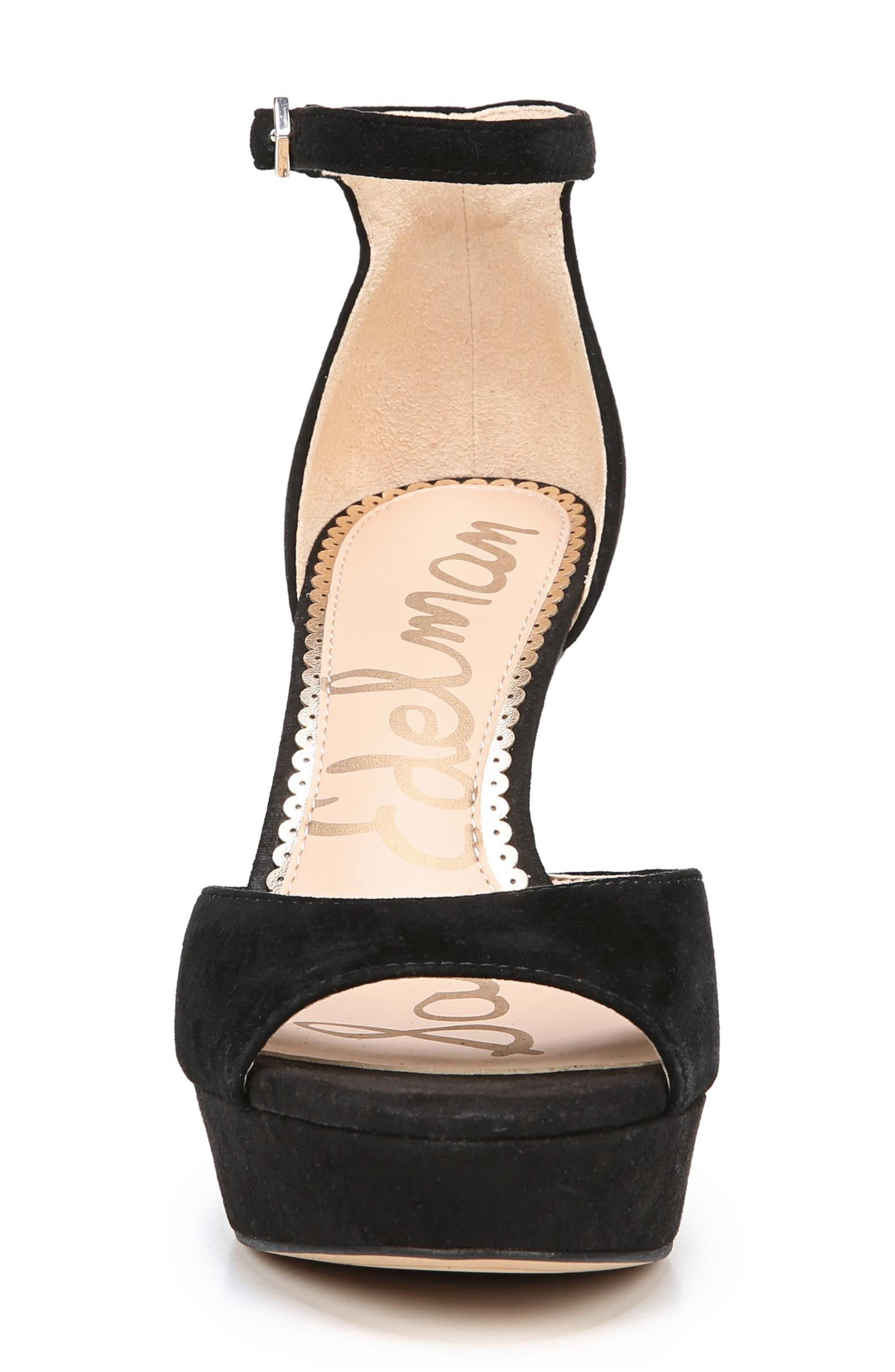 Jerin Platform Sandal,                             Alternate thumbnail 4, color,                             Black Suede