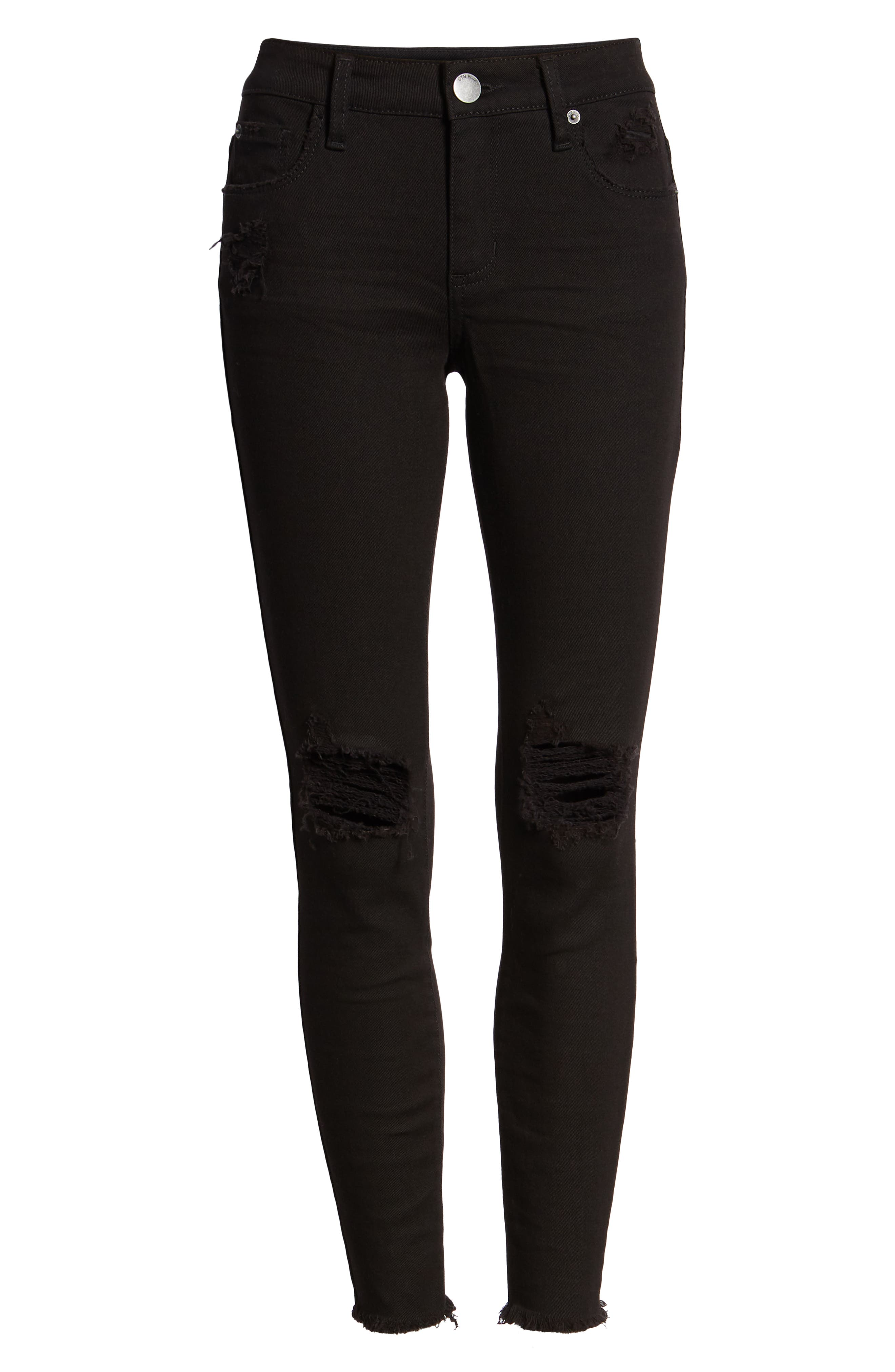 Emma Ripped Fray Hem Skinny Jeans,                             Alternate thumbnail 7, color,                             Black