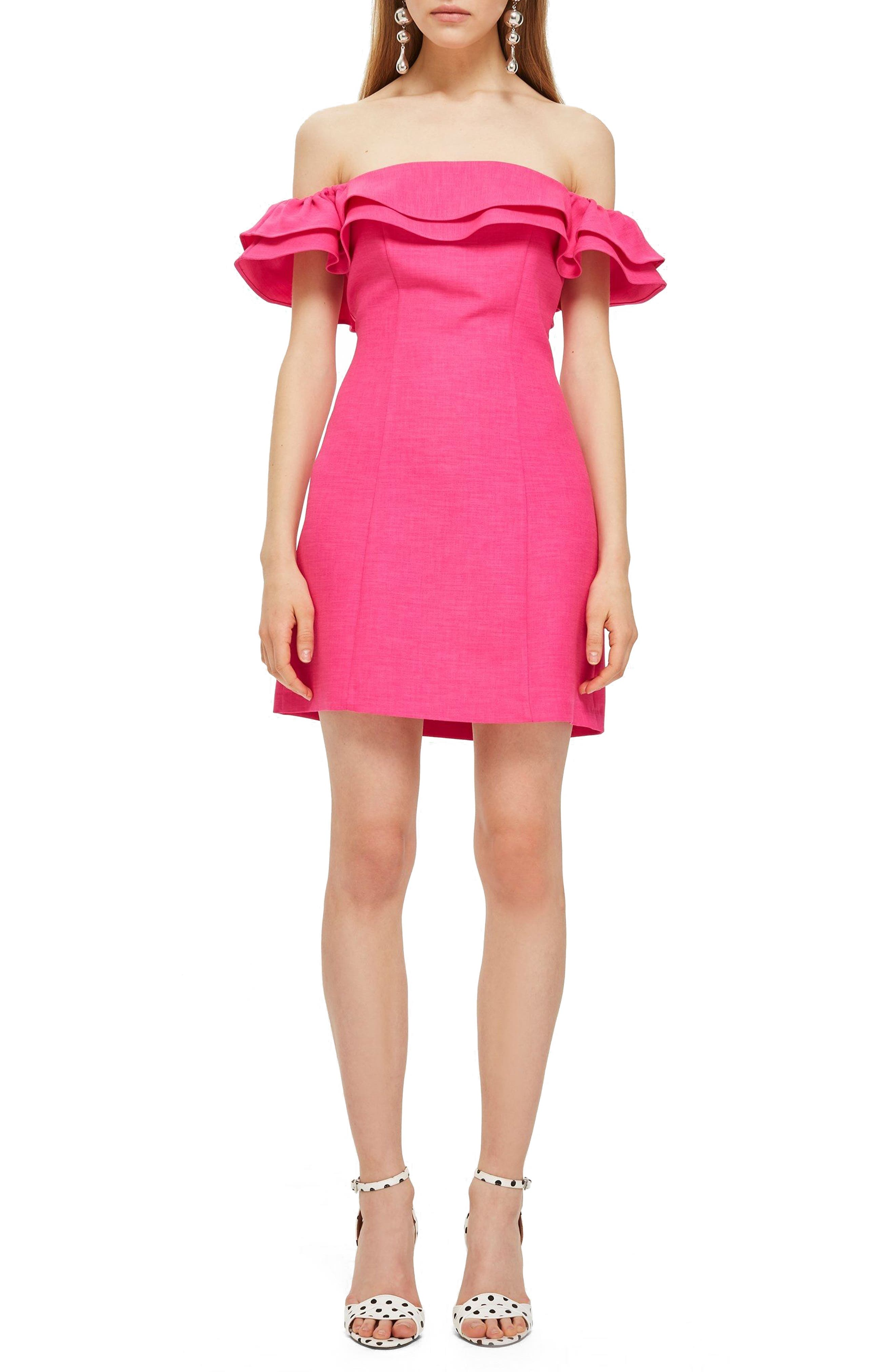 Off the Shoulder Ruffle Minidress,                             Main thumbnail 1, color,                             Pink