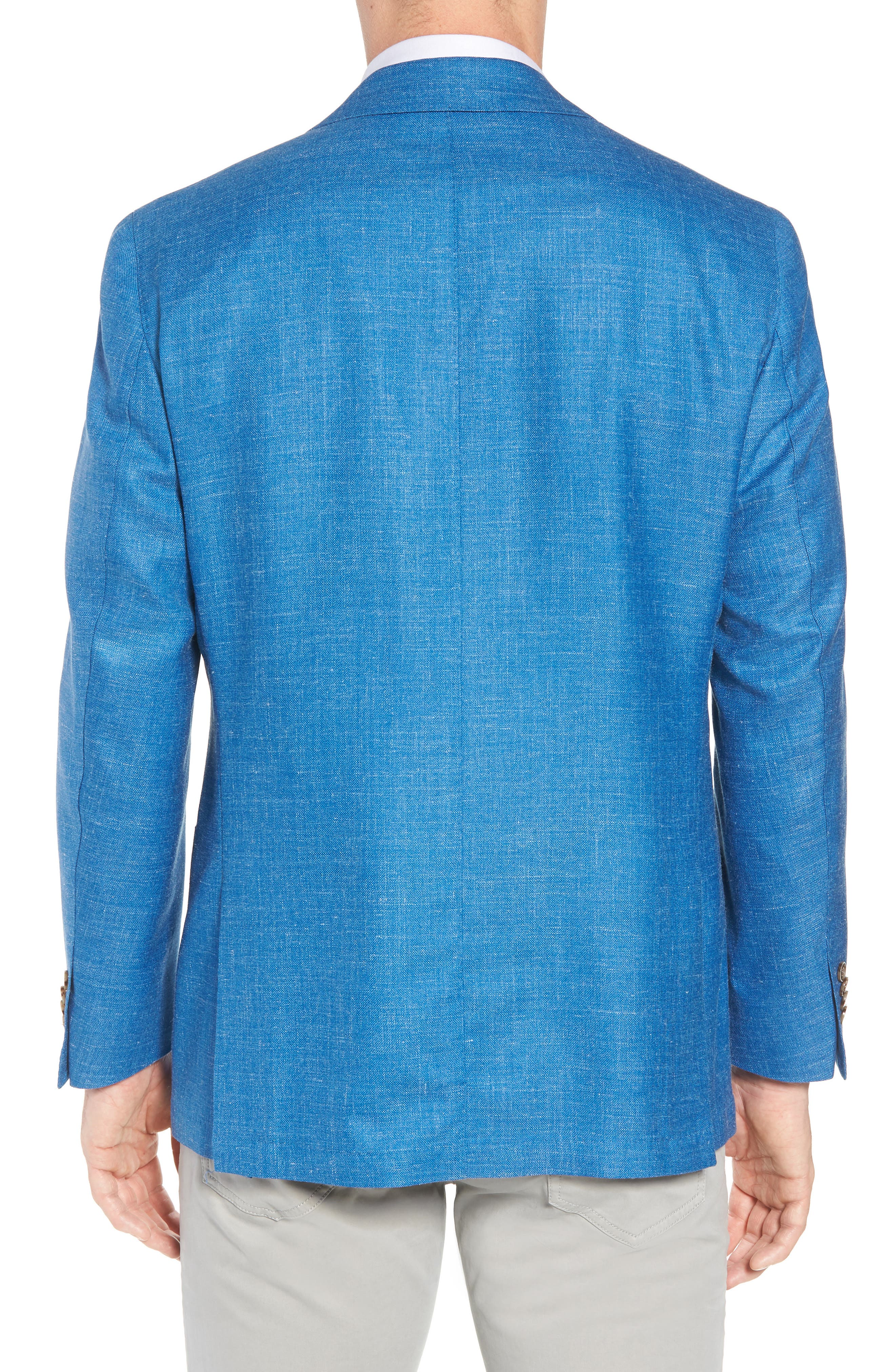 Crown Wool & Silk Blend Blazer,                             Alternate thumbnail 2, color,                             Blue Fish