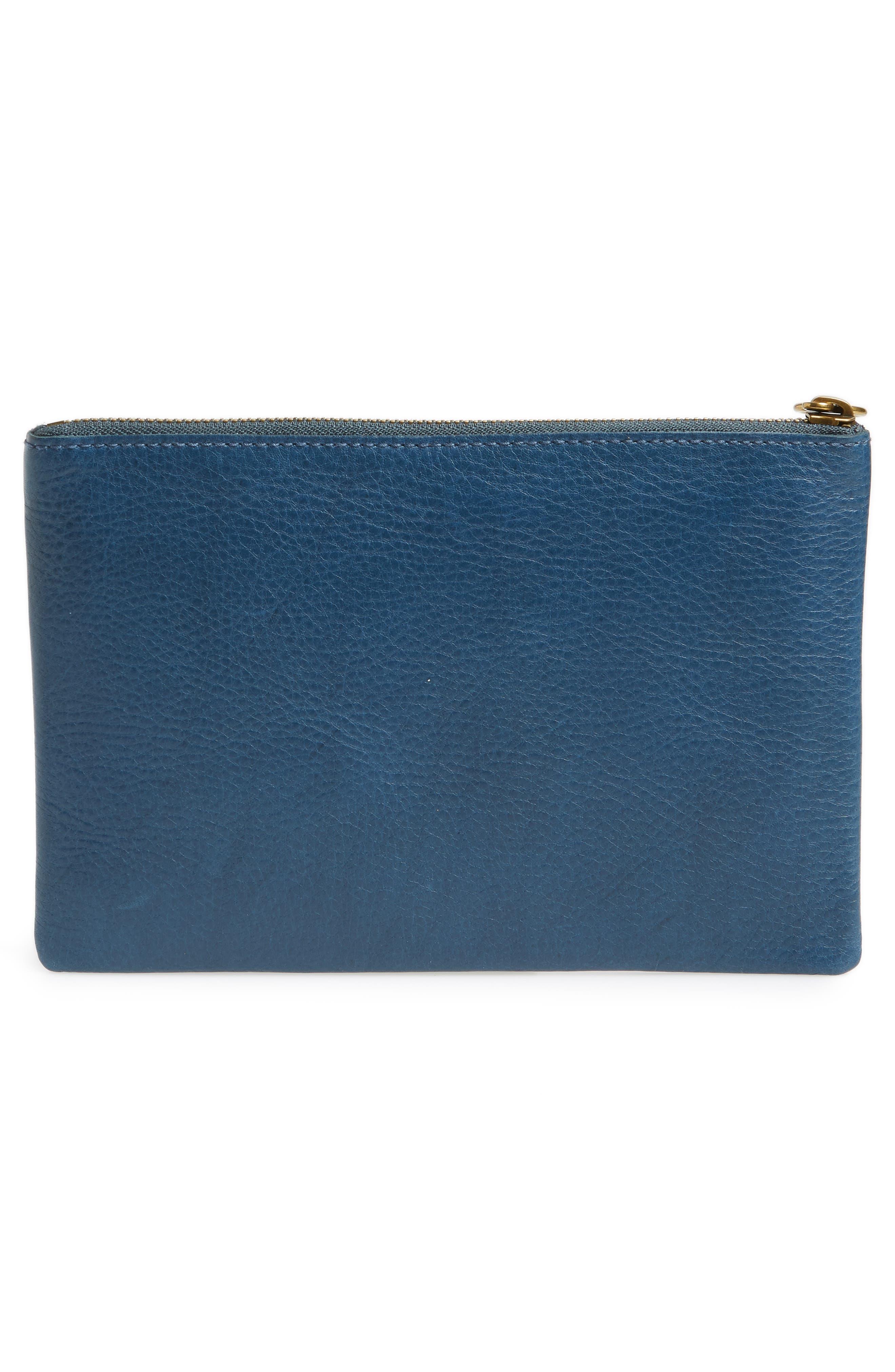 The Leather Pouch Clutch,                             Alternate thumbnail 3, color,                             Blue Hematite