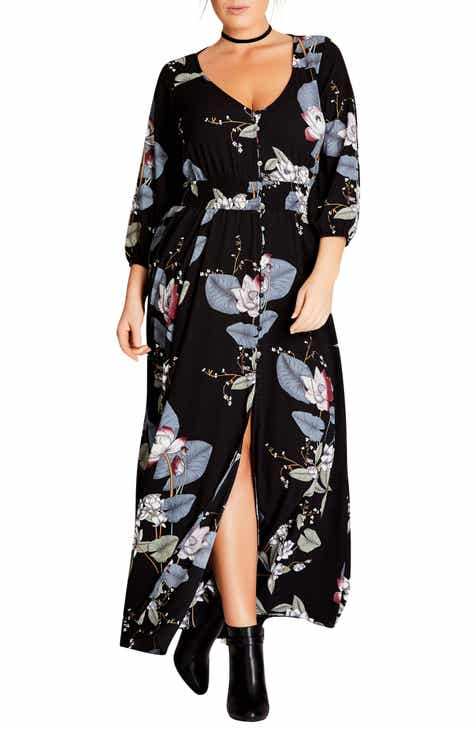 City Chic Blossom Maxi Dress (Plus Size)