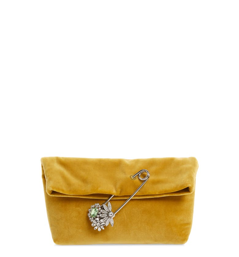 Burberry Small Velvet Embellished Pin Clutch In Larch Yellow  b497ff9bed861