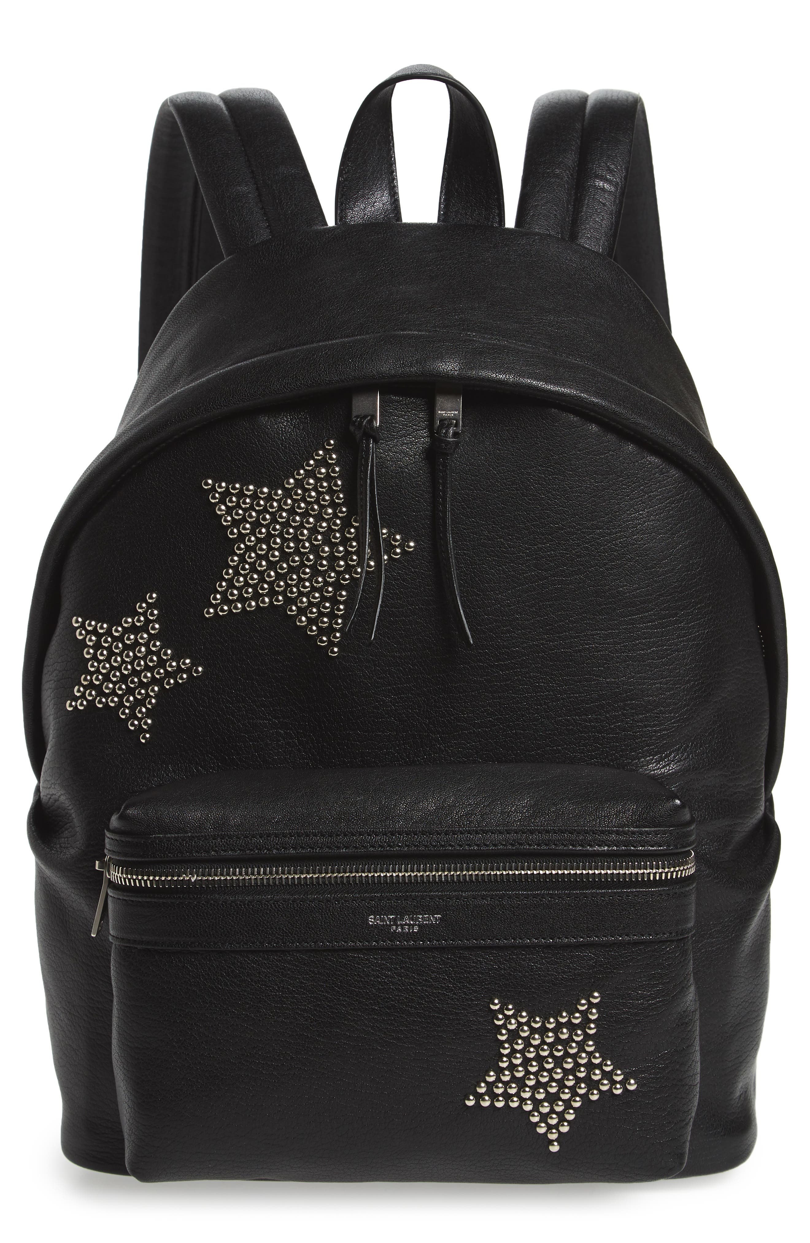 MINI CITY STARS LEATHER BACKPACK - BLACK