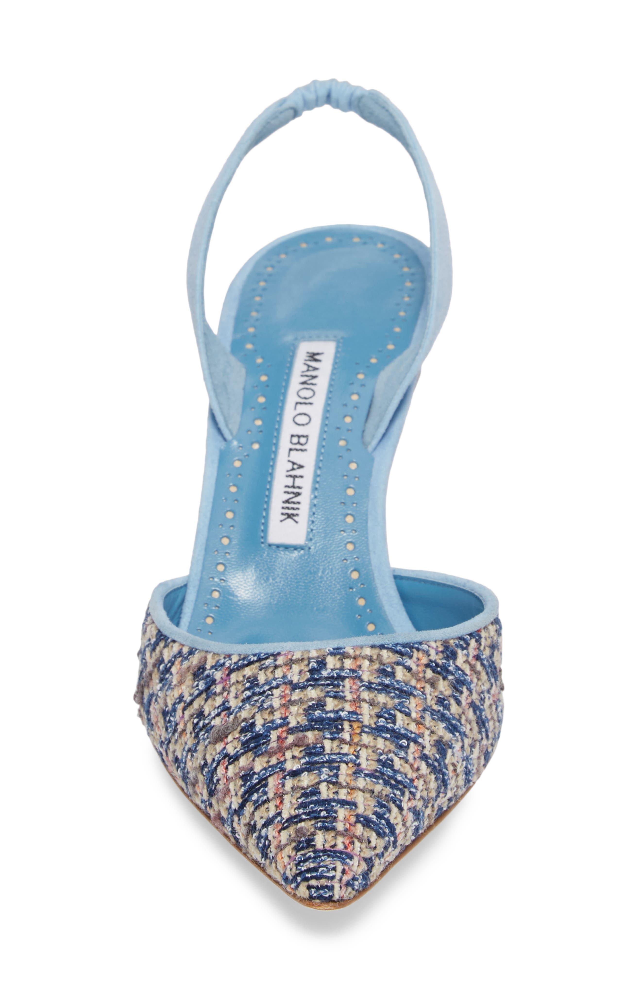 'Carolyne' Pointy Toe Slingback Pump,                             Alternate thumbnail 4, color,                             Blue Tweed