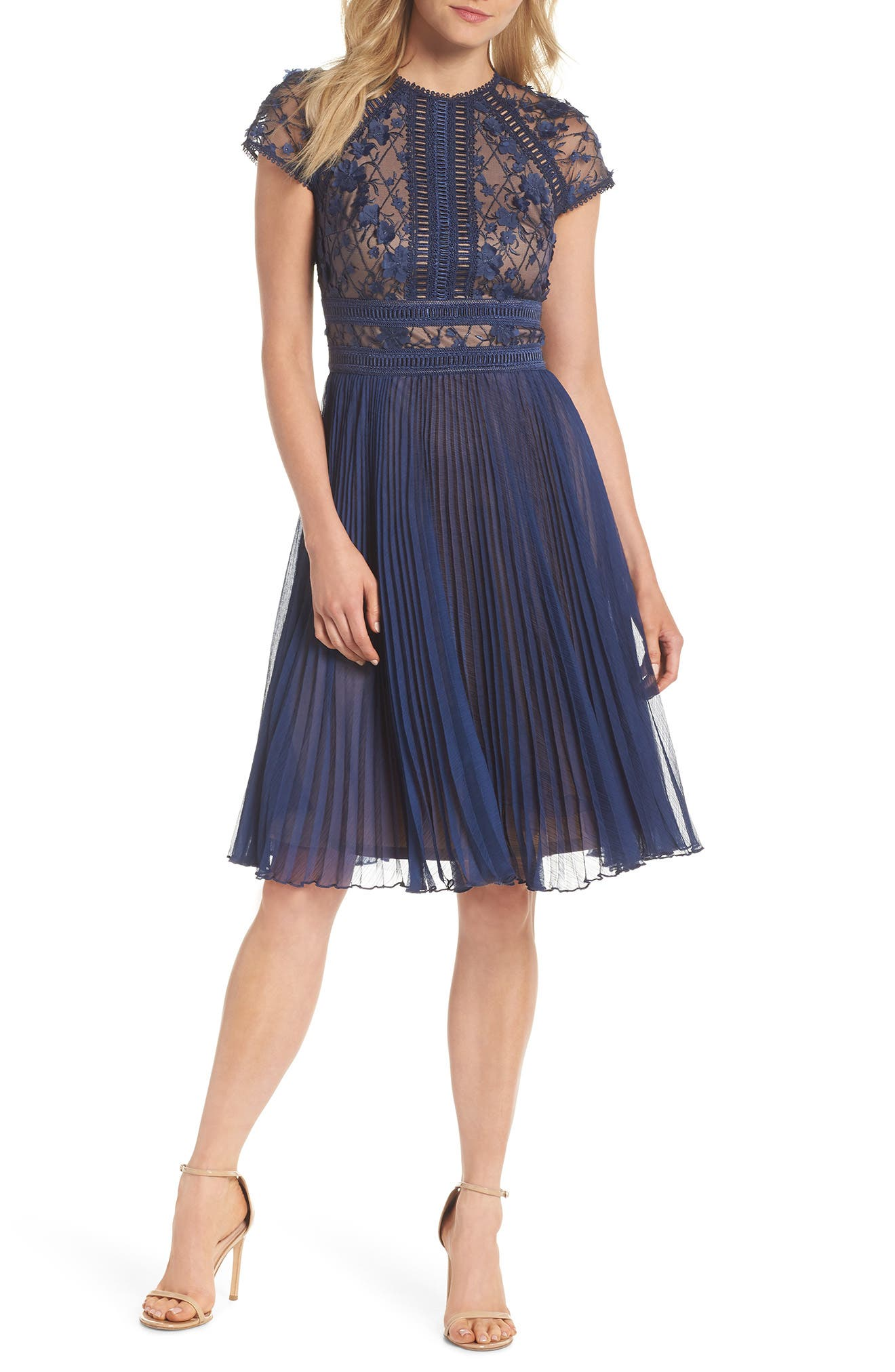 Embroidered Mesh & Chiffon Dress,                         Main,                         color, Midnight/ Nude