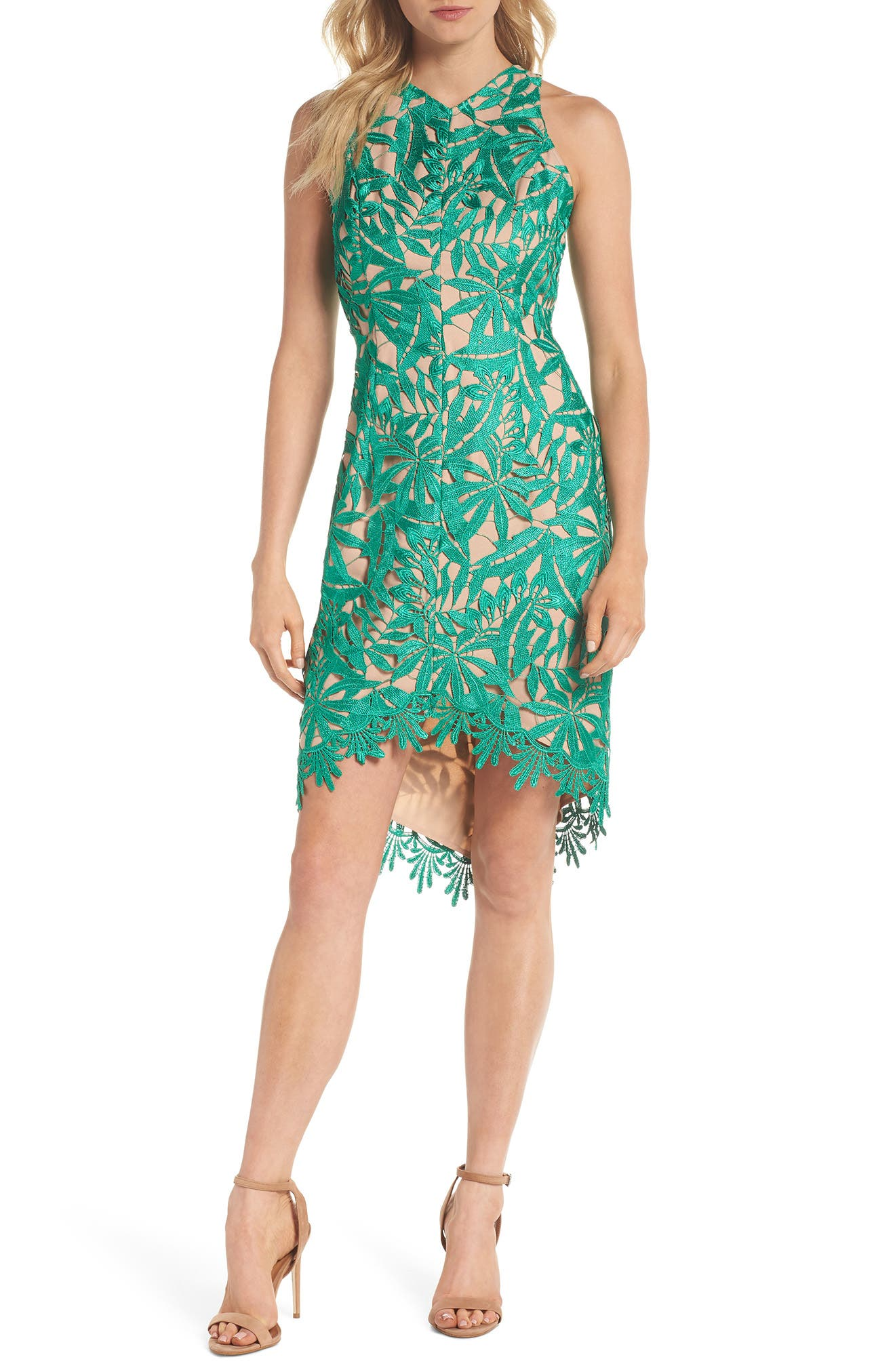 ADELYN RAE NEVE HIGH/LOW LACE SHEATH DRESS