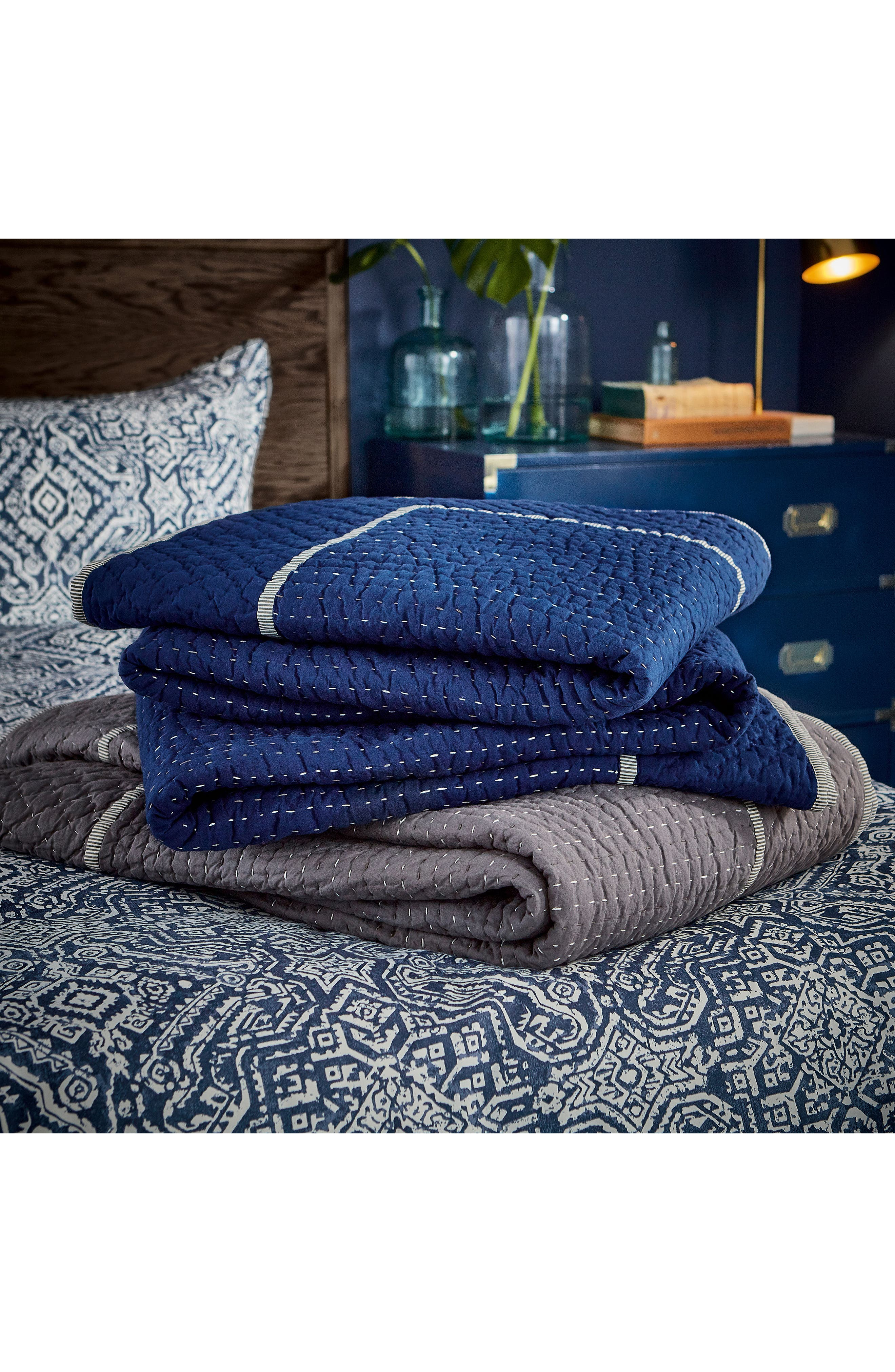 Ila Hand Stitched Kantha Quilt,                             Alternate thumbnail 5, color,                             Navy