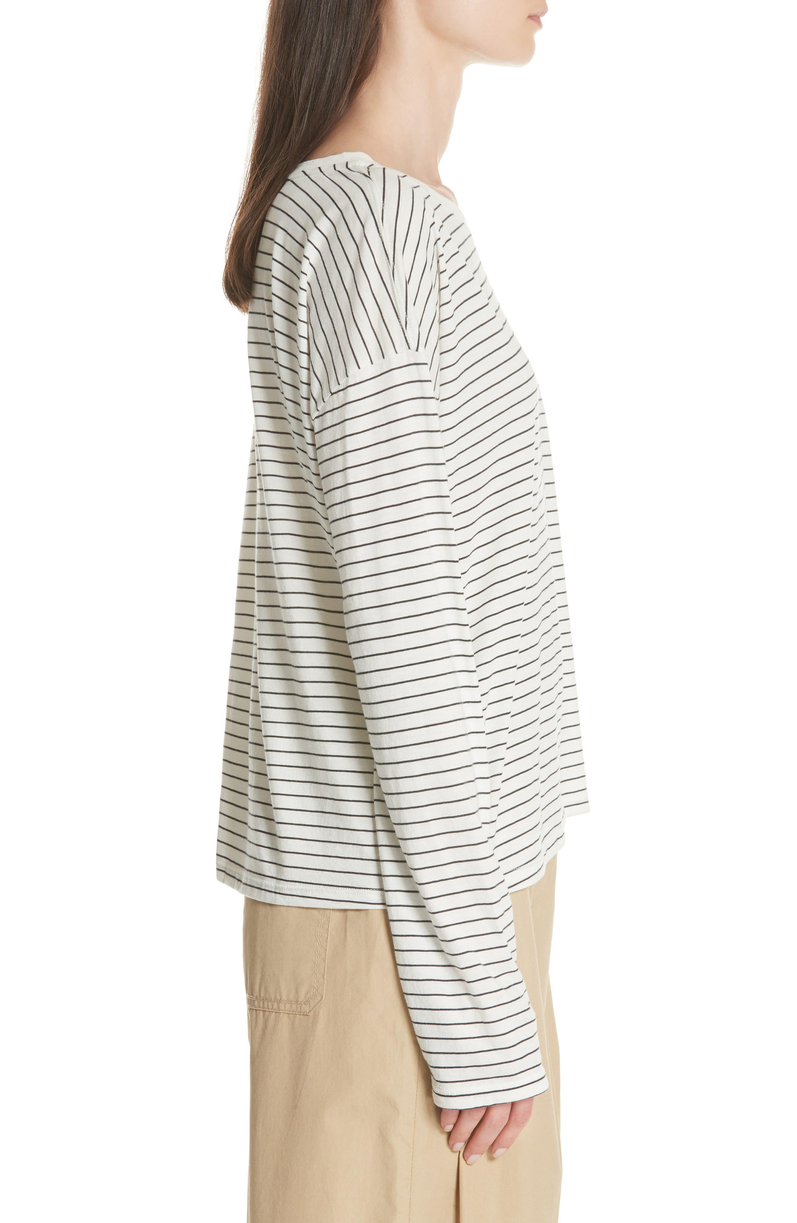 Pencil Stripe Pima Cotton Pullover Top,                             Alternate thumbnail 3, color,                             Vanilla/ Iron