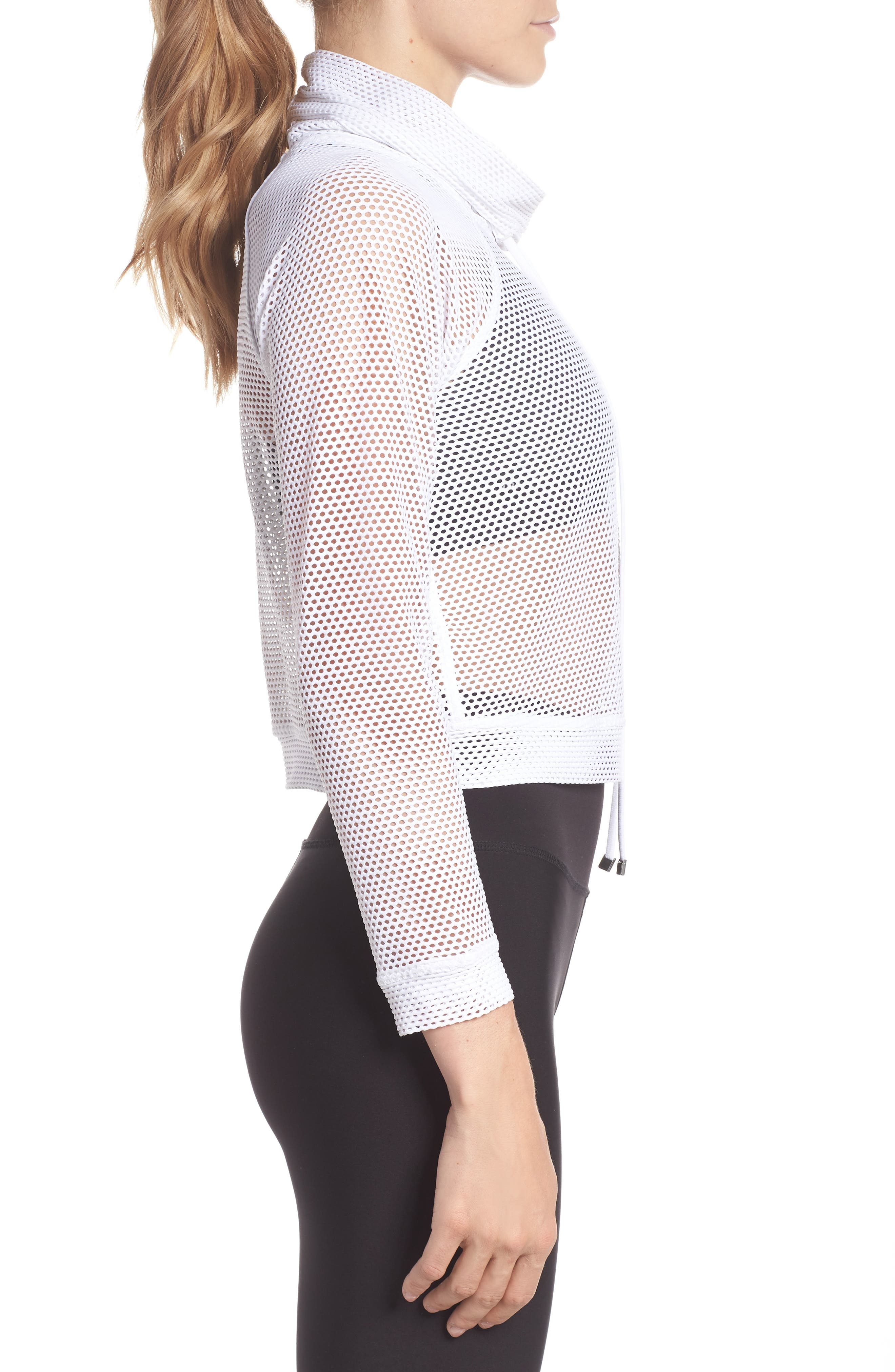 Mesh Pullover,                             Alternate thumbnail 6, color,                             White